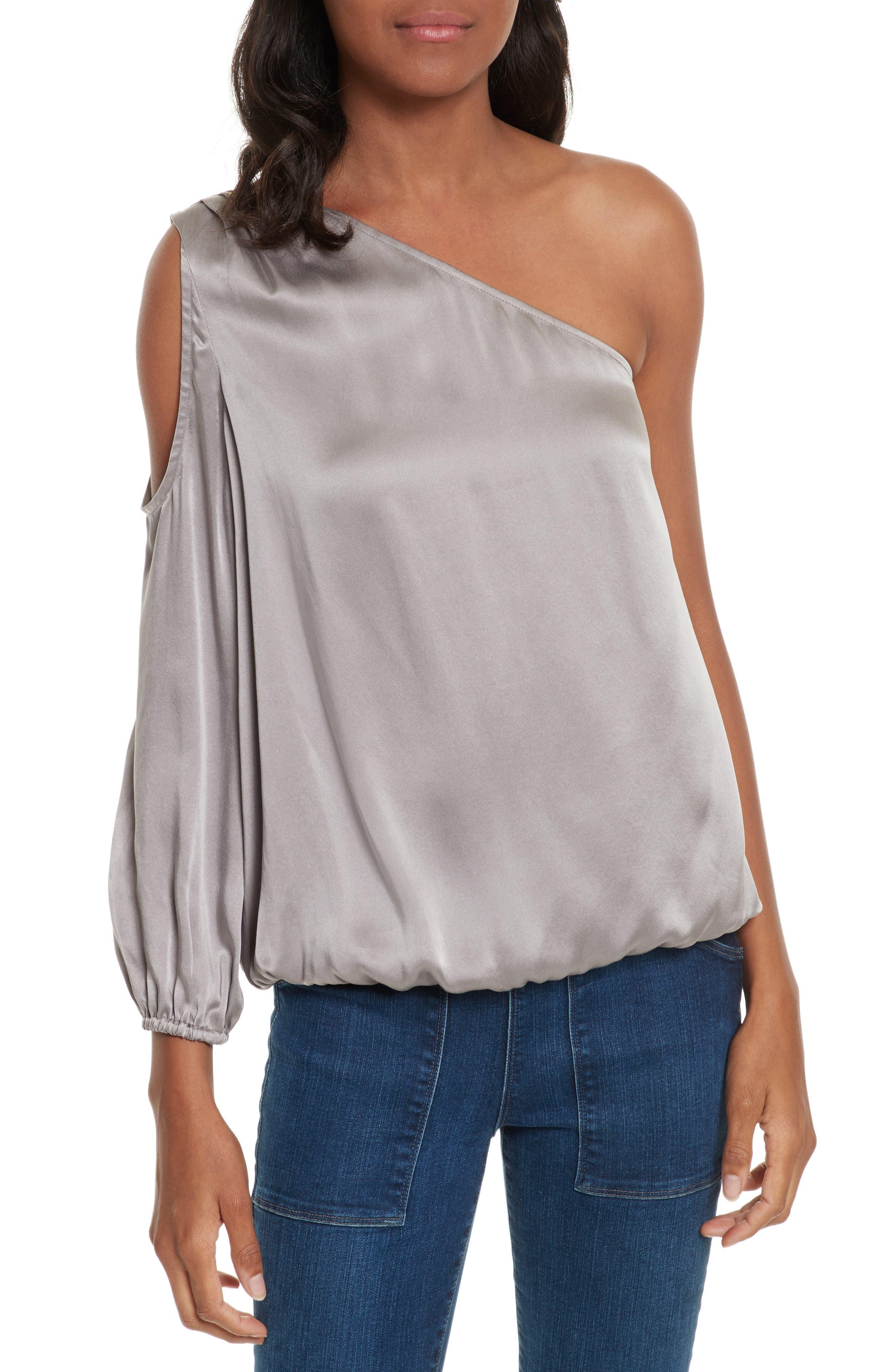Abatha One-Shoulder Silk Top,                         Main,                         color, Vintage Silver