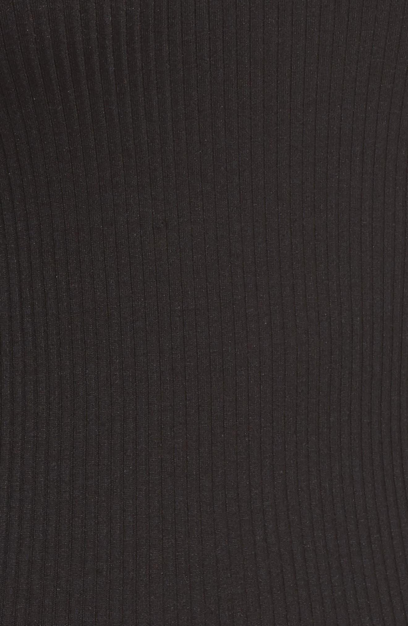 Silk & Cotton Ribbed Tank,                             Alternate thumbnail 5, color,                             Black