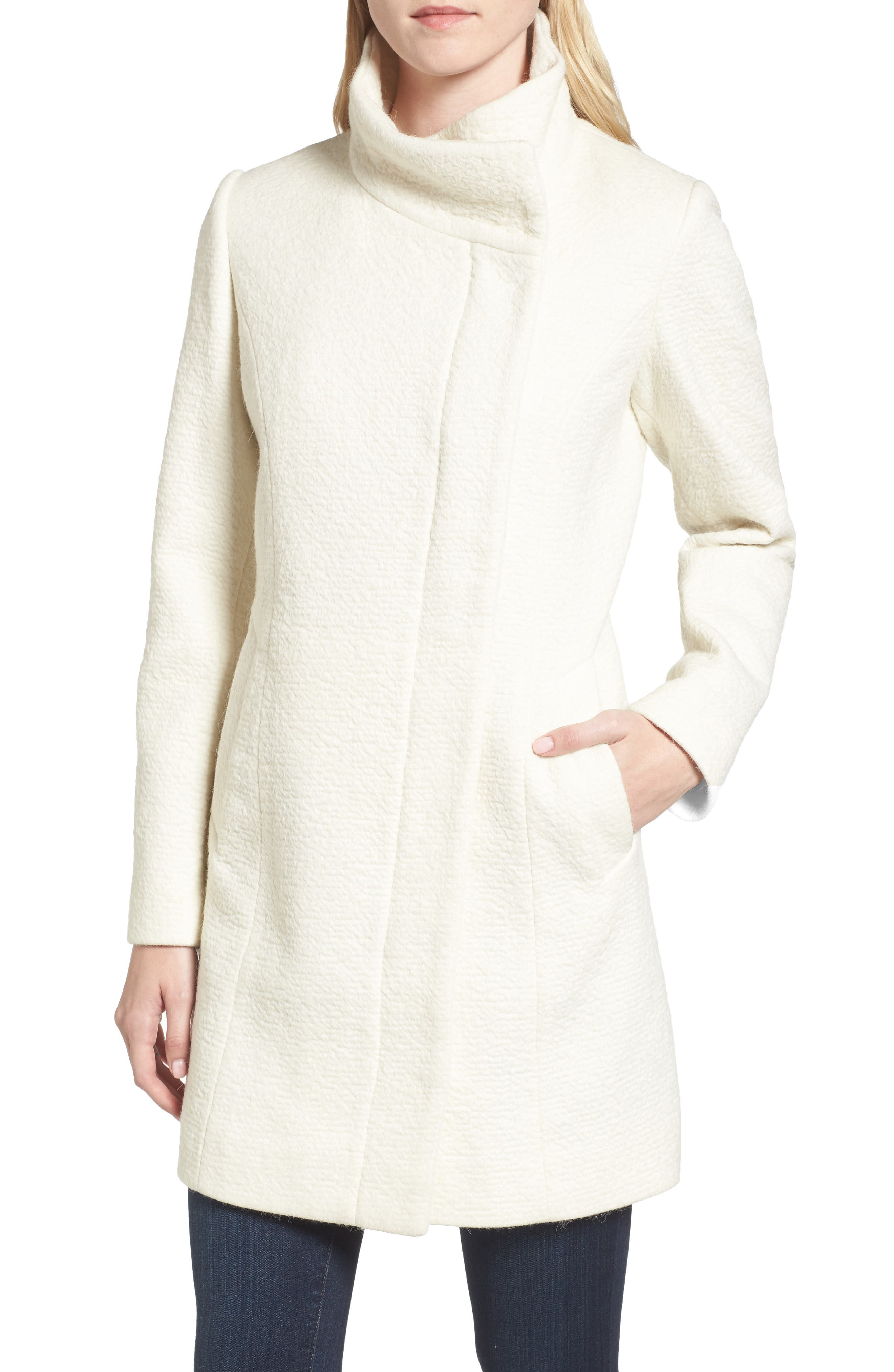 Alternate Image 4  - Cole Haan Double Breasted Funnel Neck Coat