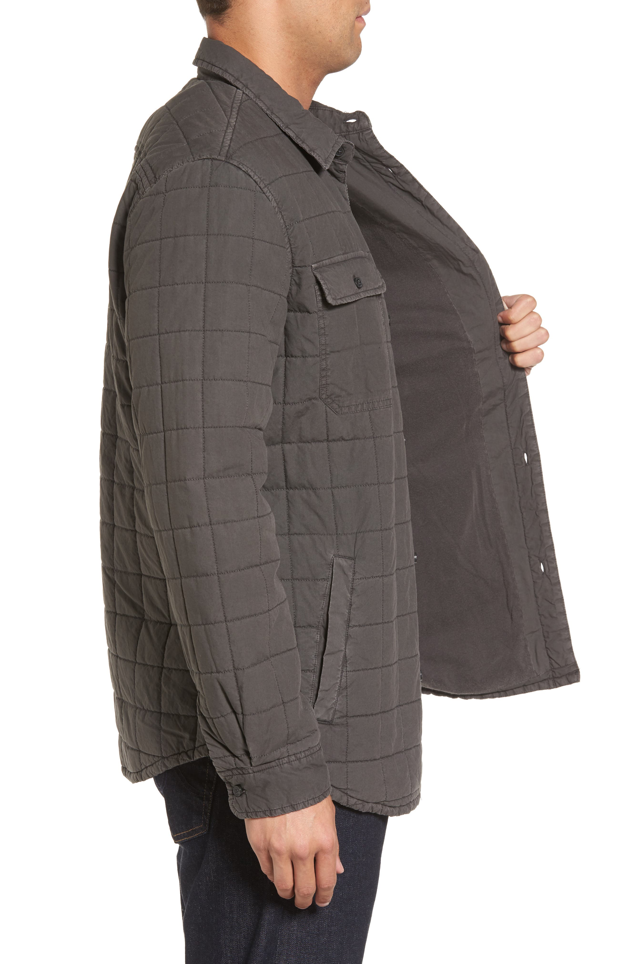 Quilted Shirt Jacket,                             Alternate thumbnail 3, color,                             Off Black