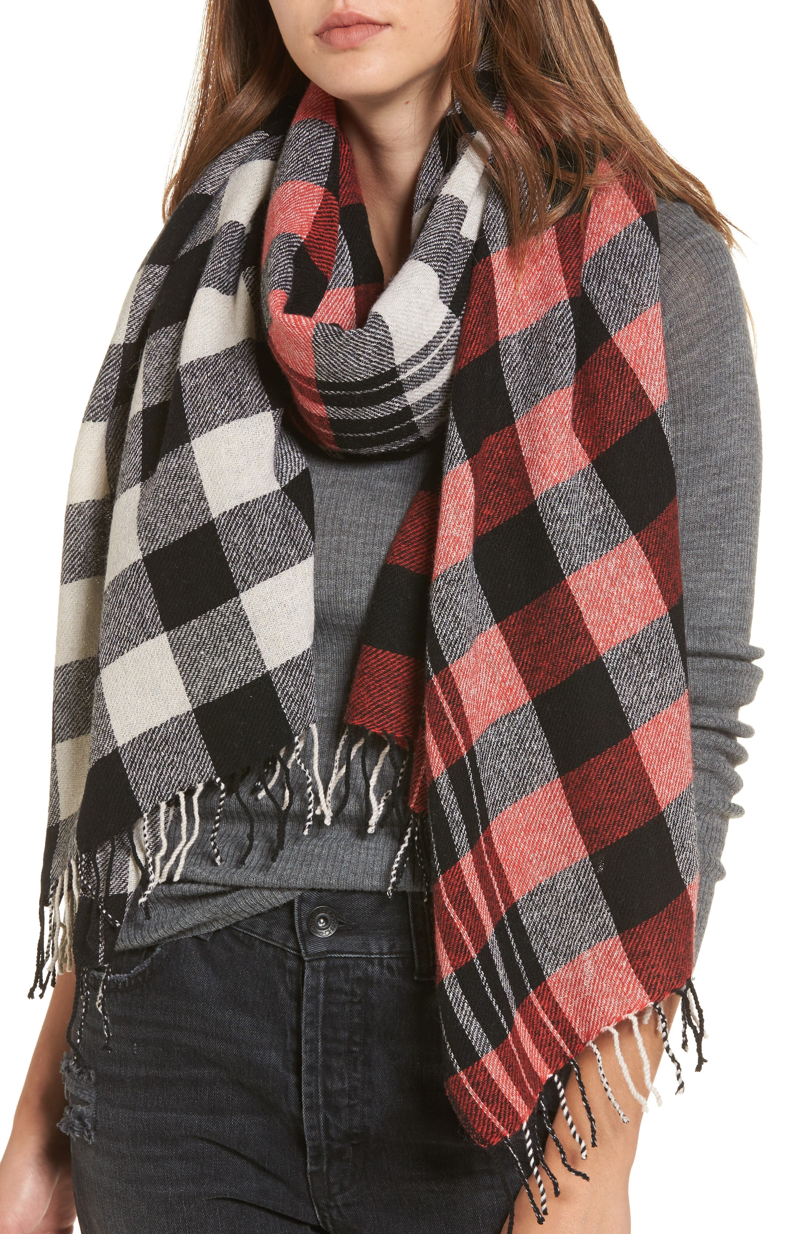 Checked Wool & Cashmere Scarf,                             Main thumbnail 1, color,                             Black