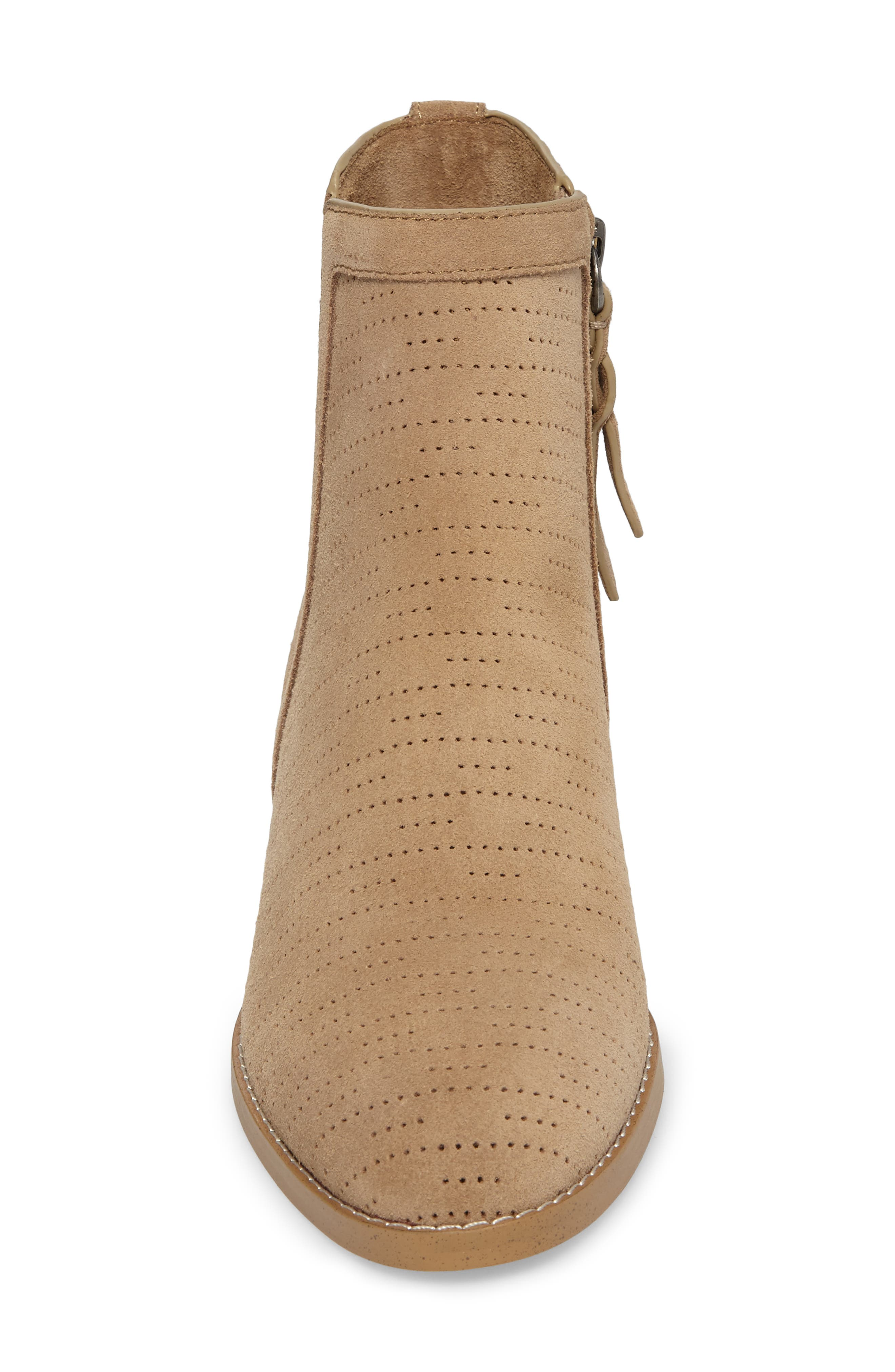Rosalie Perforated Bootie,                             Alternate thumbnail 4, color,                             Light Taupe Suede