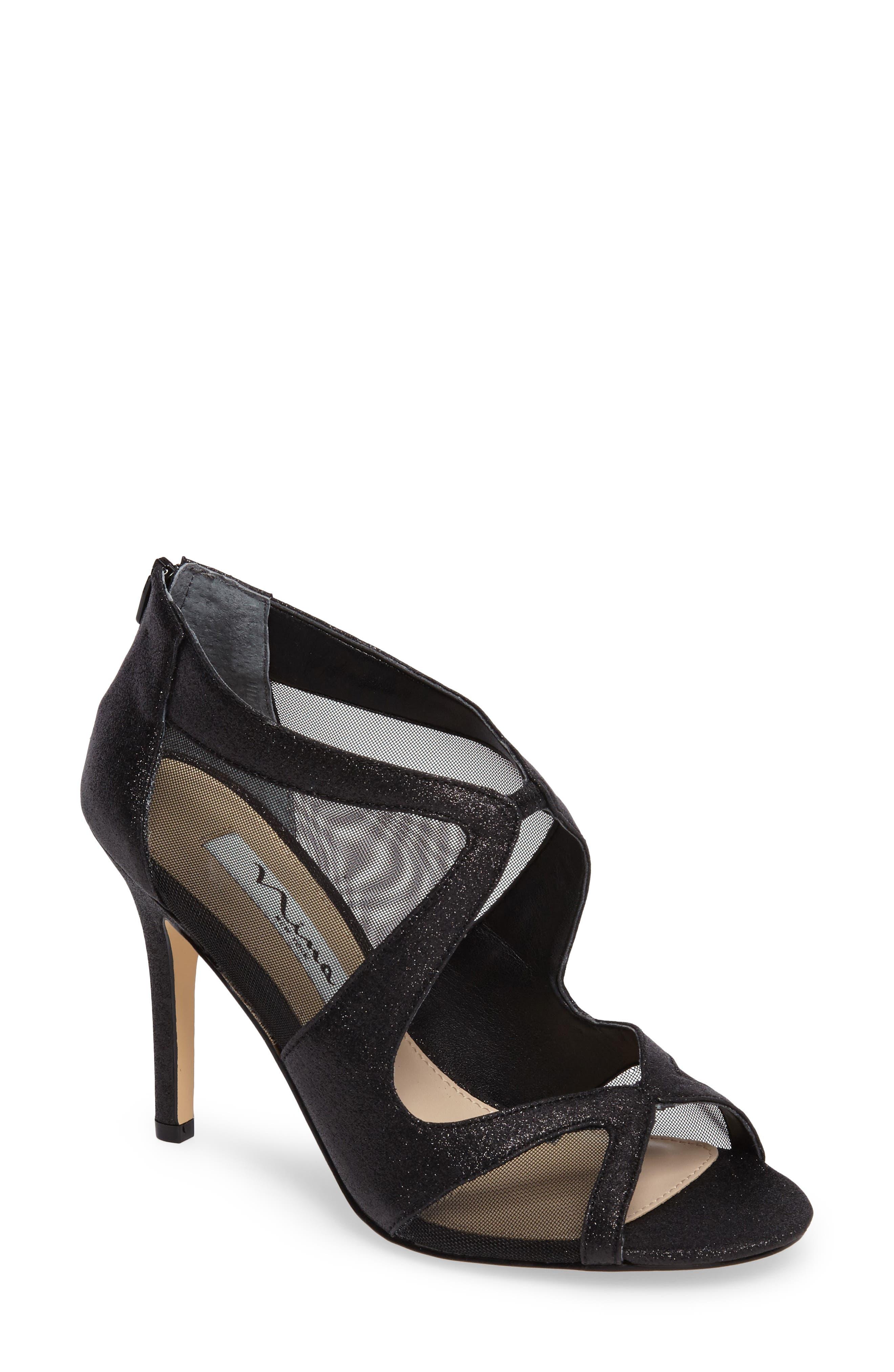 Cordella Open Toe Pump,                         Main,                         color, Black Glitter Fabric