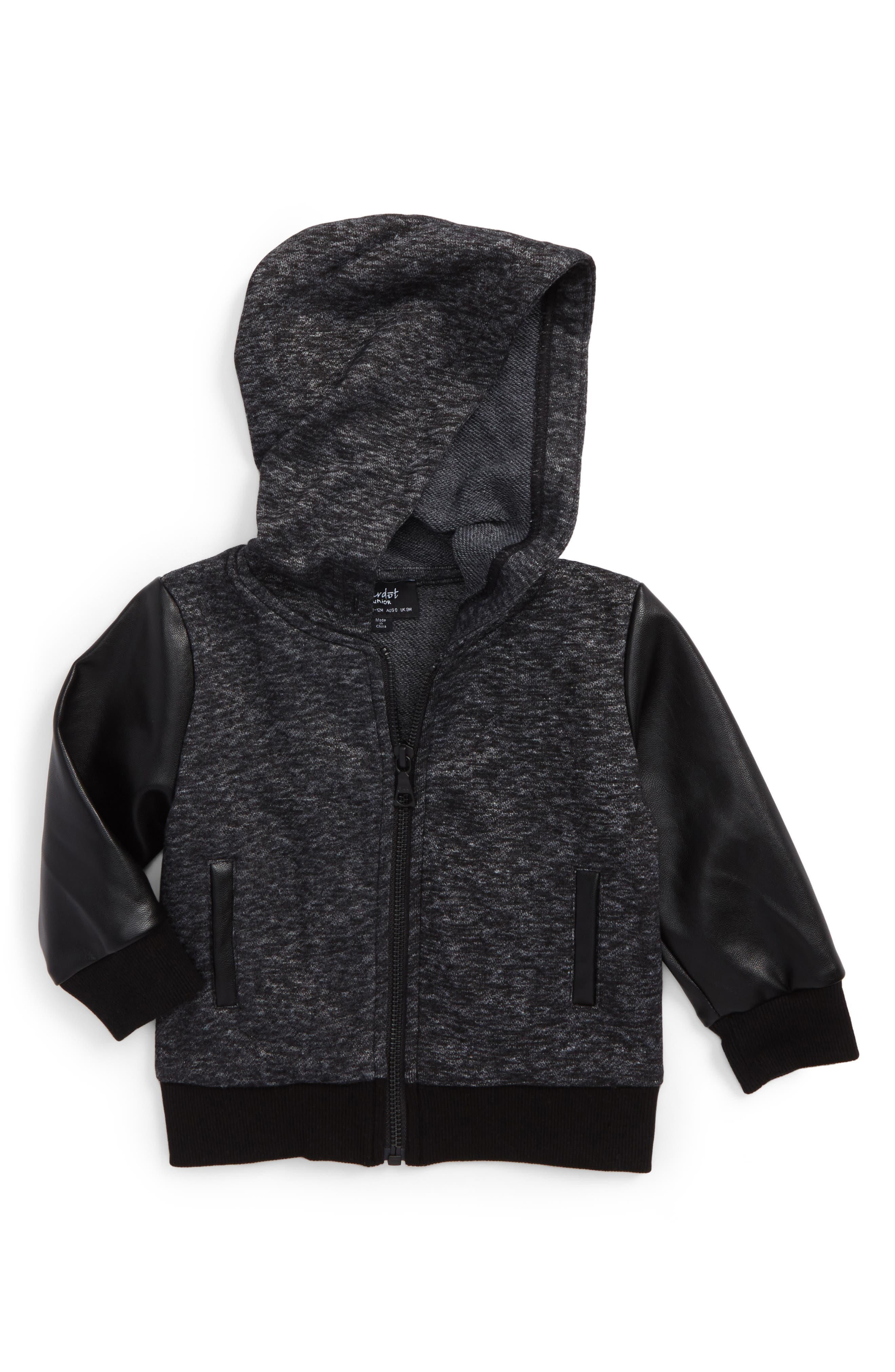 Mixed Media Zip Hoodie,                         Main,                         color, Charcoal Marle