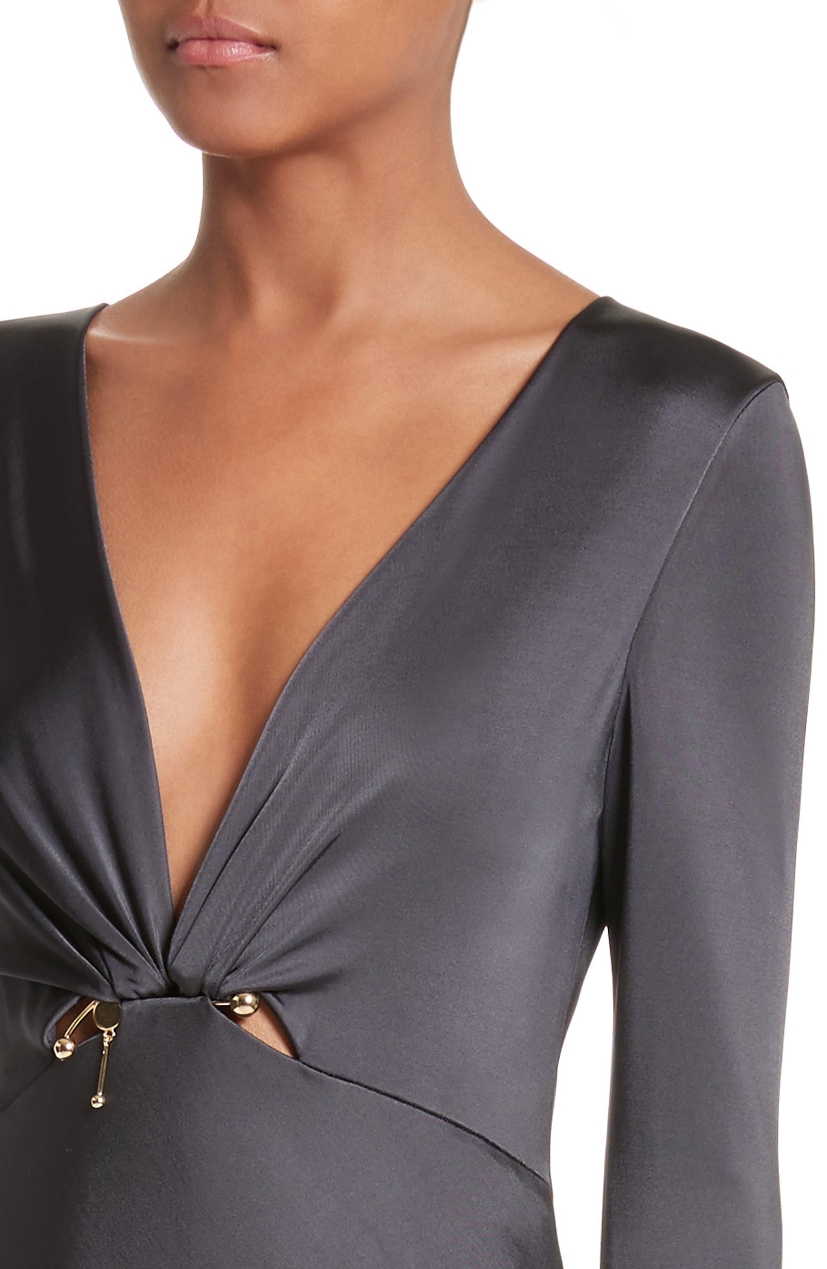 Magdelena Ring Detail Jersey Dress,                             Alternate thumbnail 4, color,                             Graphite/ Gold