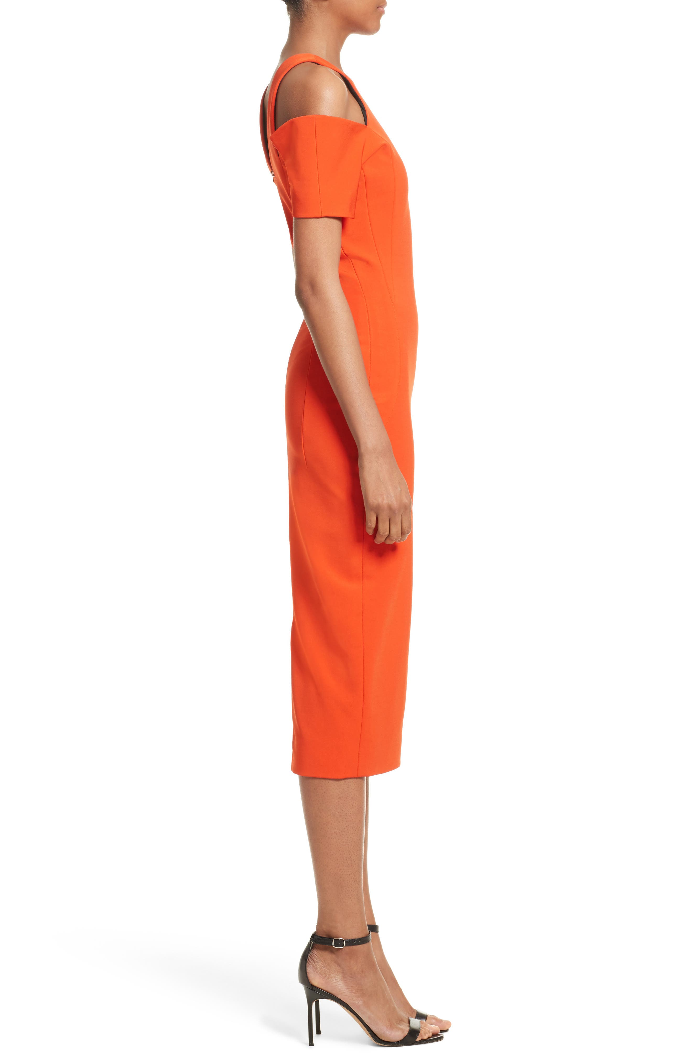 Cold Shoulder Sheath Dress,                             Alternate thumbnail 4, color,                             Sunset