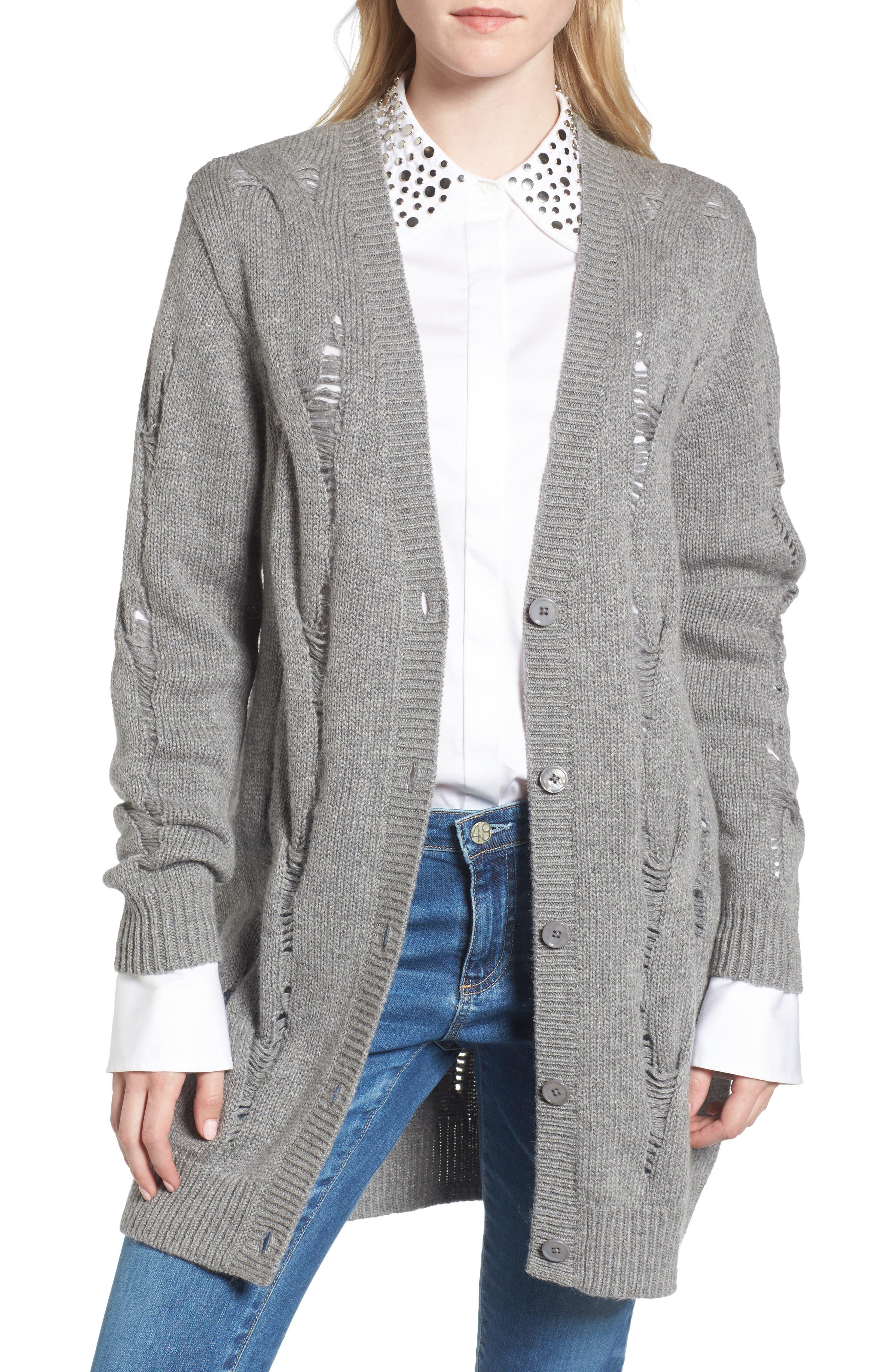 Sandrine Longline Cardigan Sweater,                             Main thumbnail 1, color,                             Pebble Grey