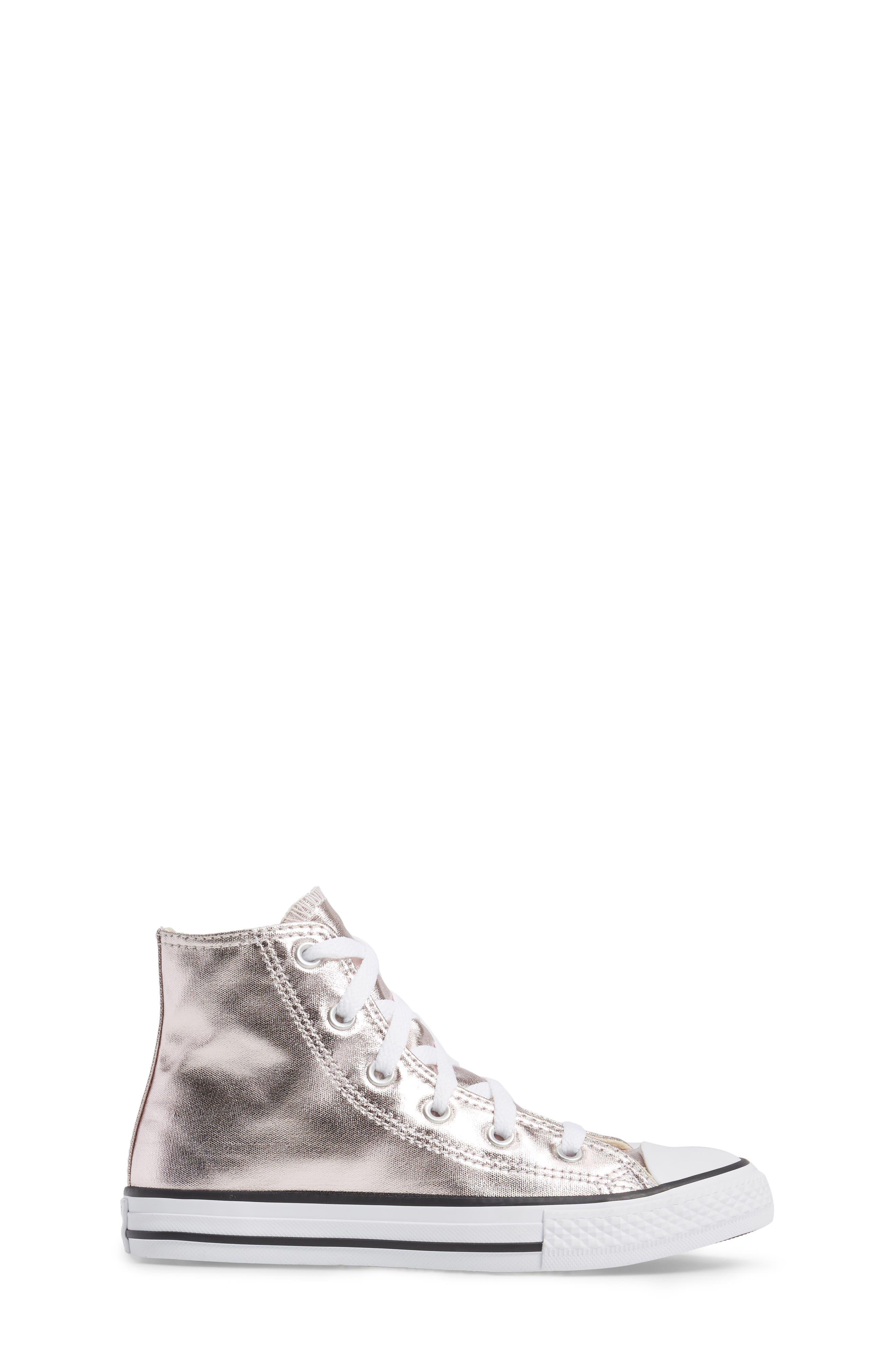 Chuck Taylor<sup>®</sup> All Star<sup>®</sup> Seasonal Metallic High Top Sneaker,                             Alternate thumbnail 3, color,                             Rose Quartz/ White Canvas