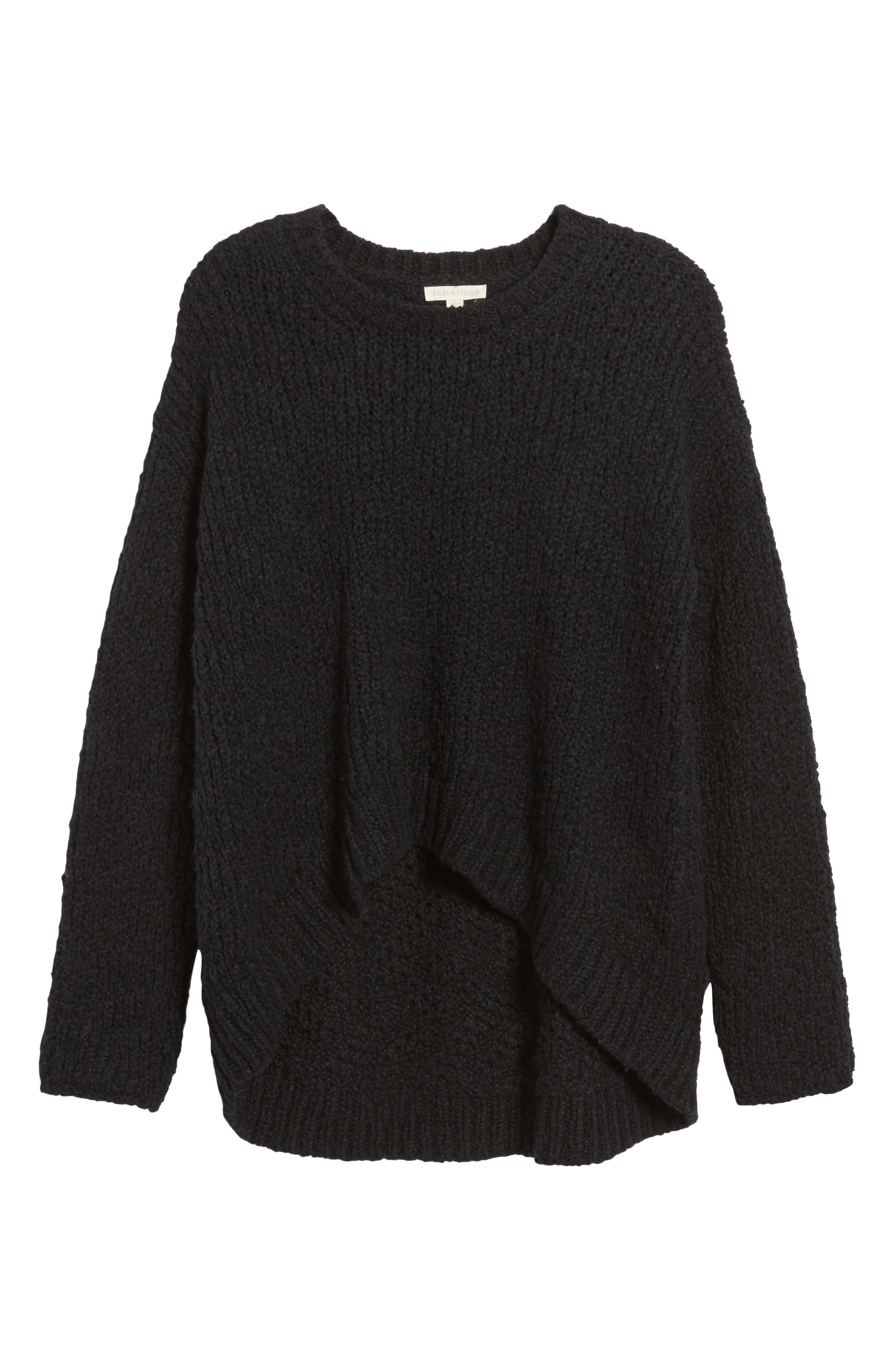 High/Low Organic Cotton Sweater,                             Alternate thumbnail 6, color,                             Black