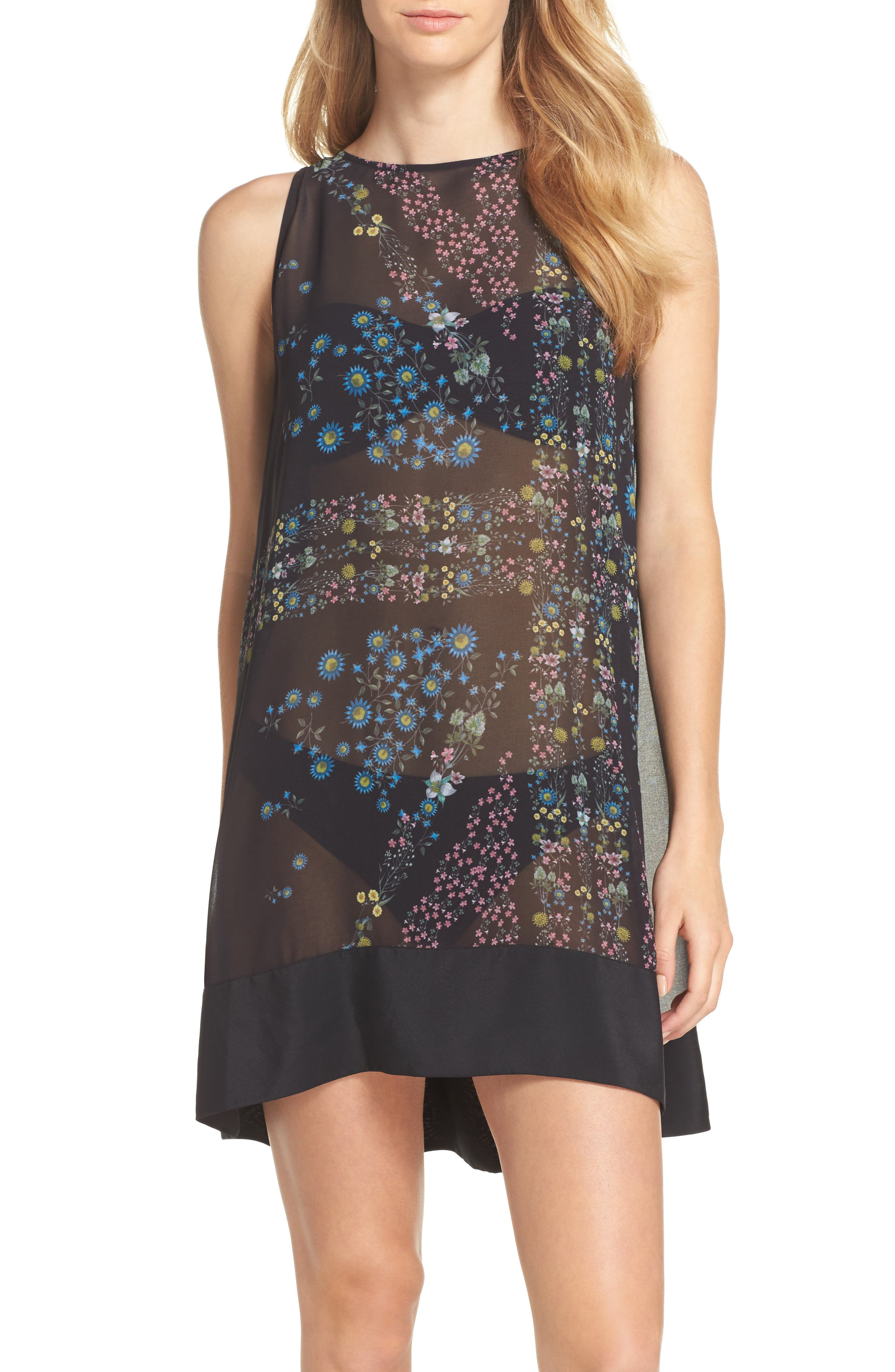 Unity Flora Cover-Up Tunic,                         Main,                         color, Black