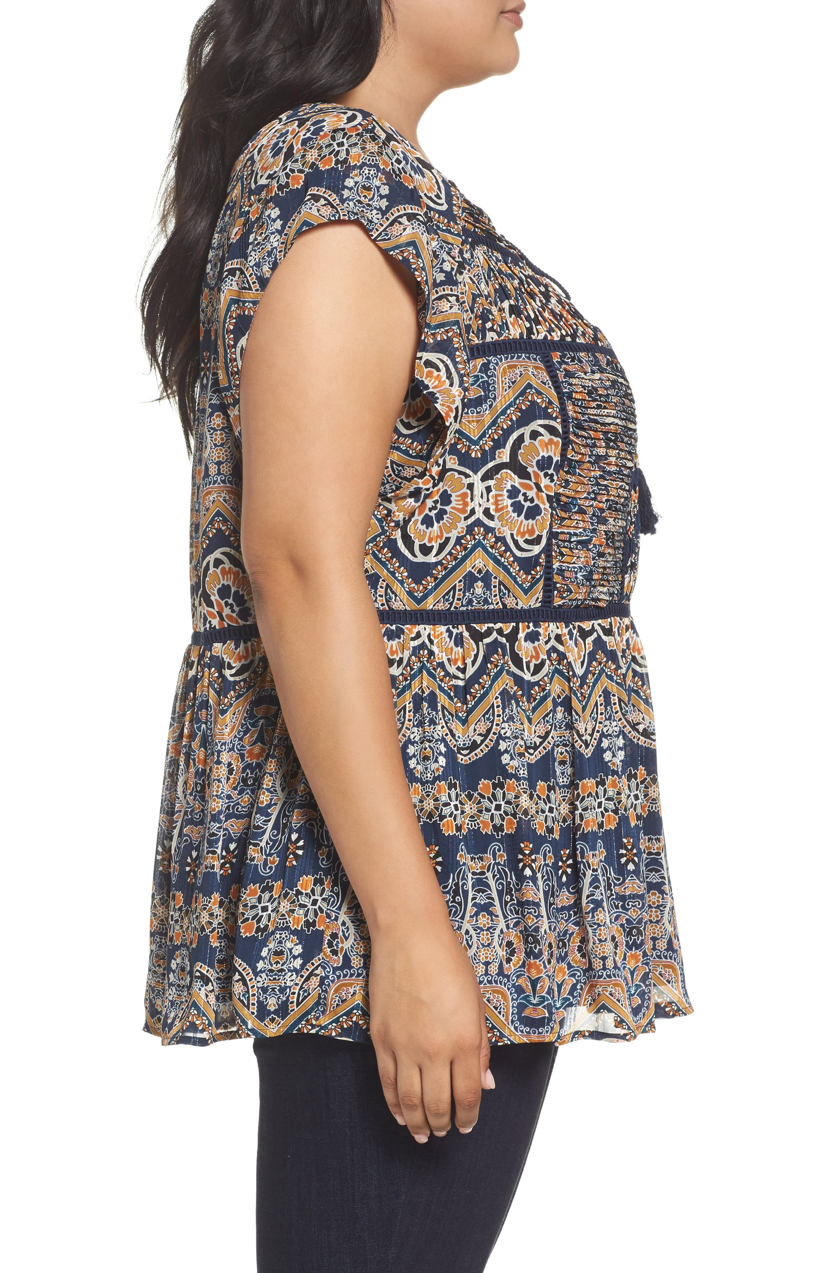 Print Pleated Top,                             Alternate thumbnail 3, color,                             Blue