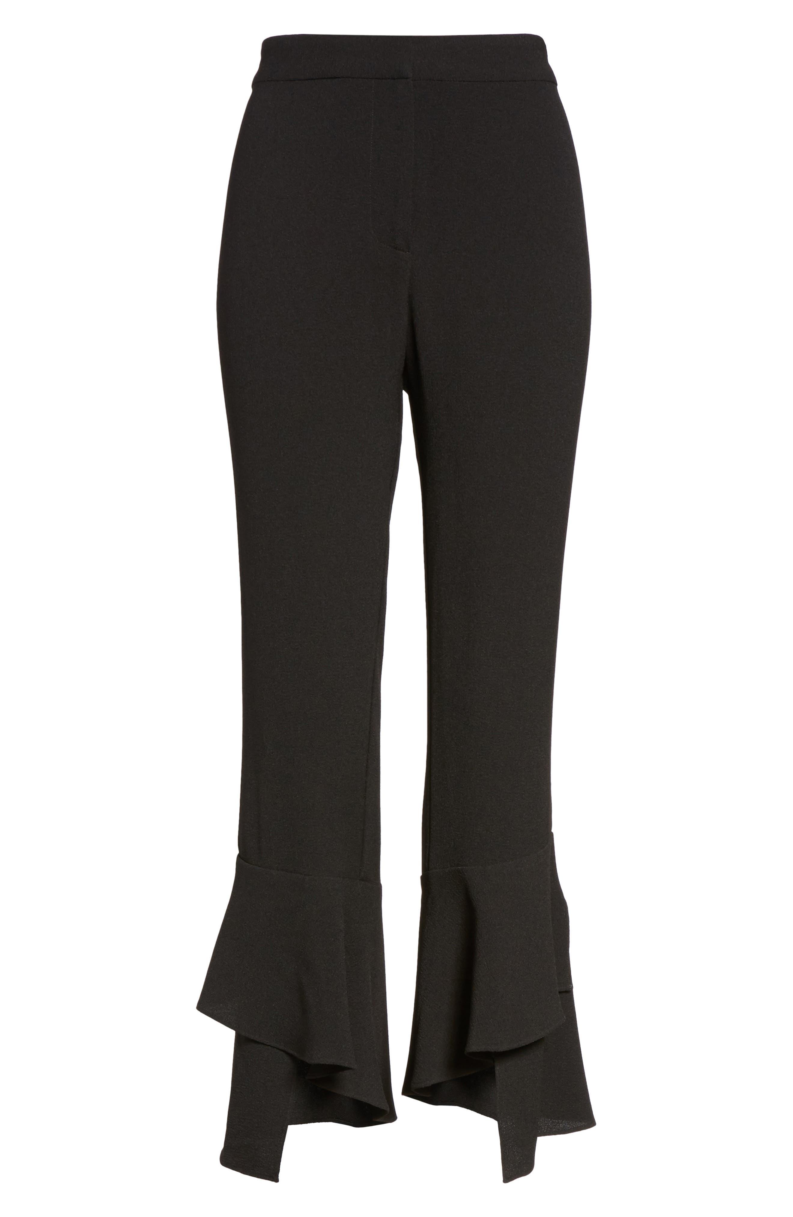 Gail Ruffle Hem Crop Pants,                             Alternate thumbnail 6, color,                             Black