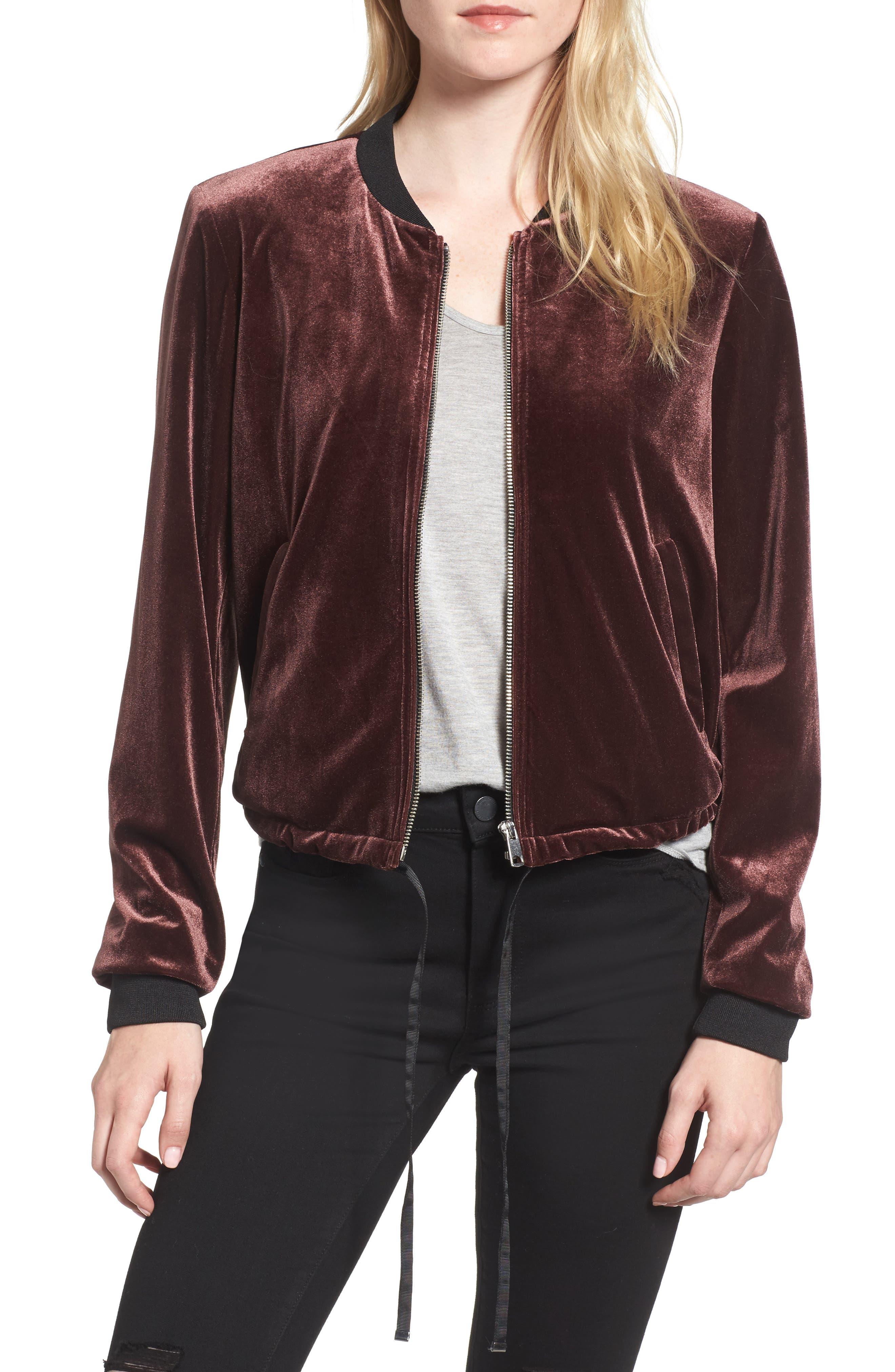 Velvet Bomber Jacket,                         Main,                         color, Plum Brown