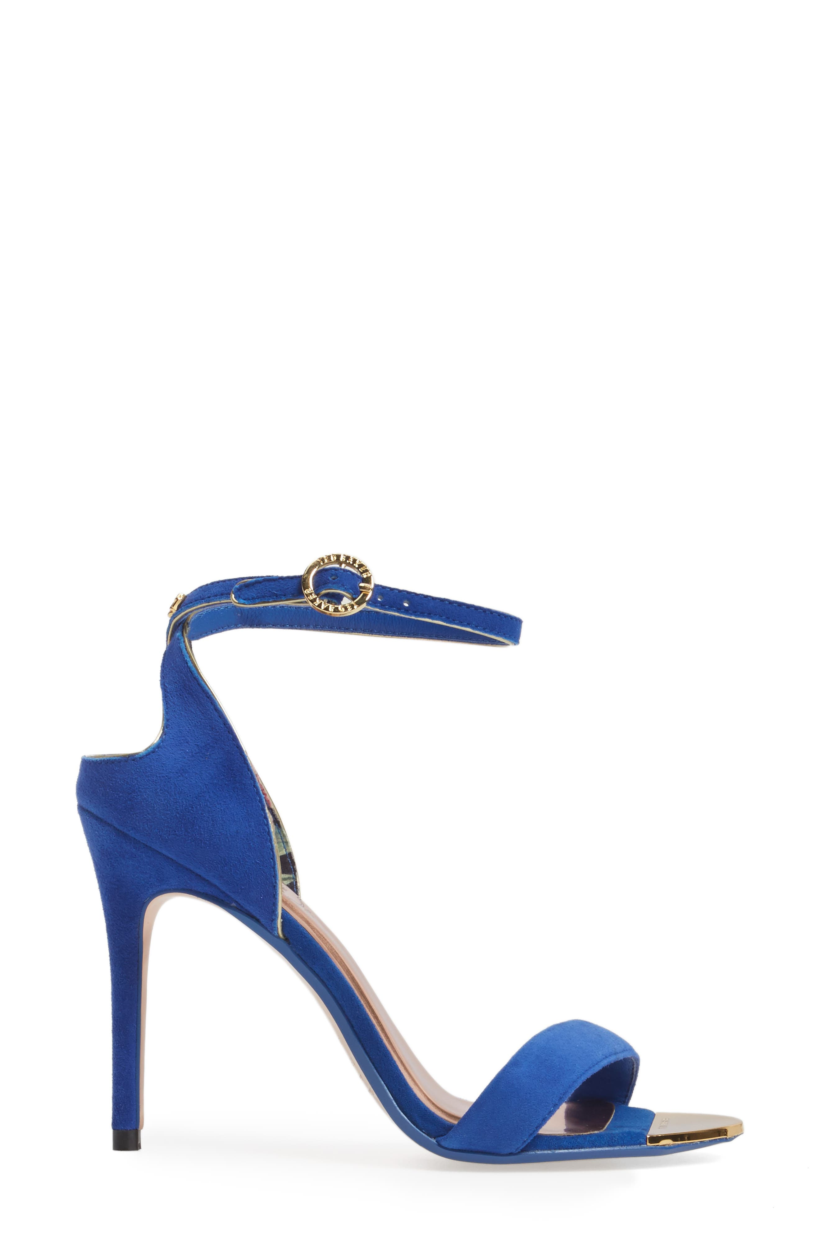Mirobell Ankle Strap Sandal,                             Alternate thumbnail 3, color,                             Blue Suede