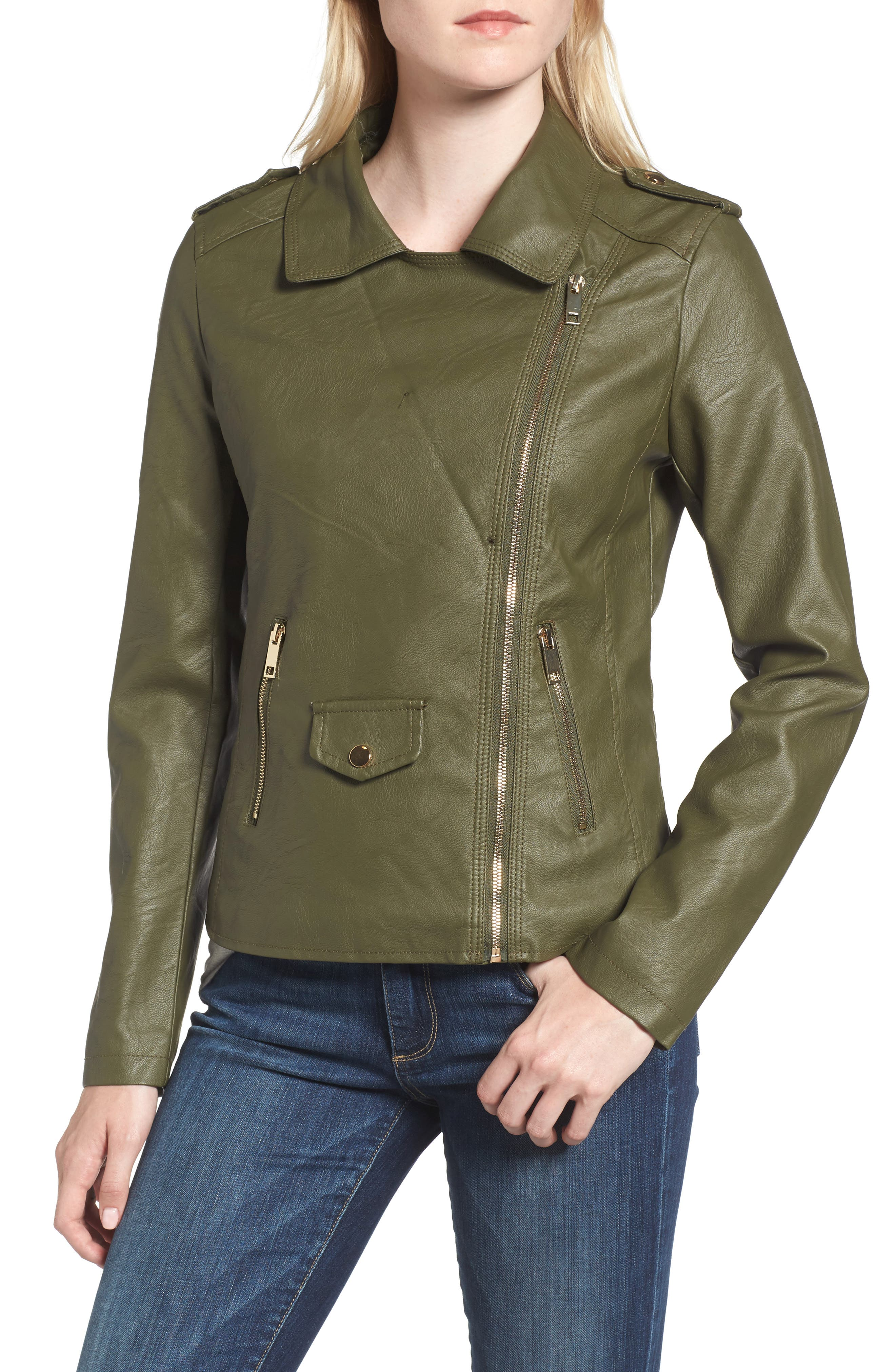 Alternate Image 4  - Love Token Faux Leather Jacket with Removable Faux Fur Collar