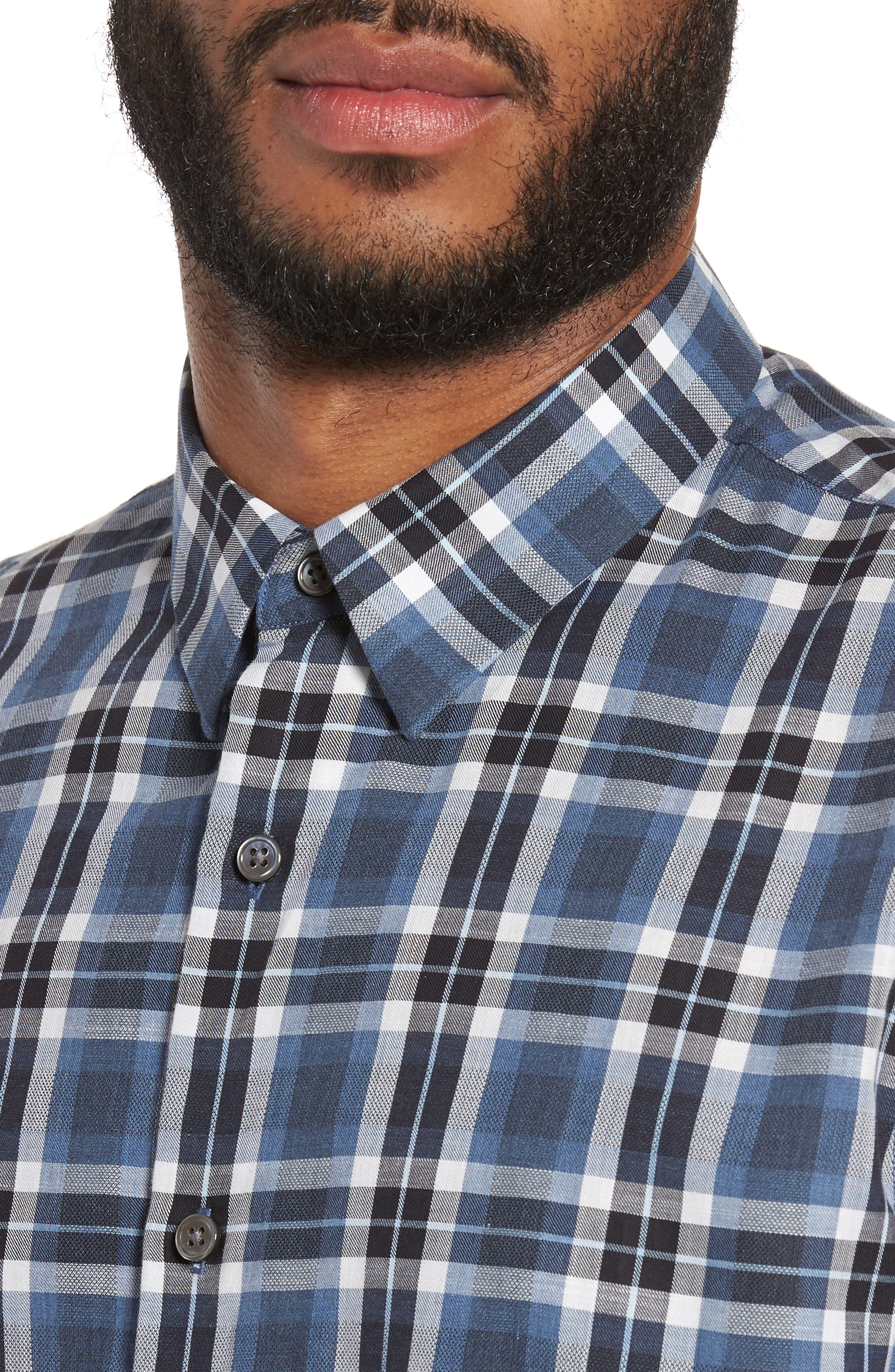 Trim Fit Plaid Flannel Shirt,                             Alternate thumbnail 4, color,                             River Multi