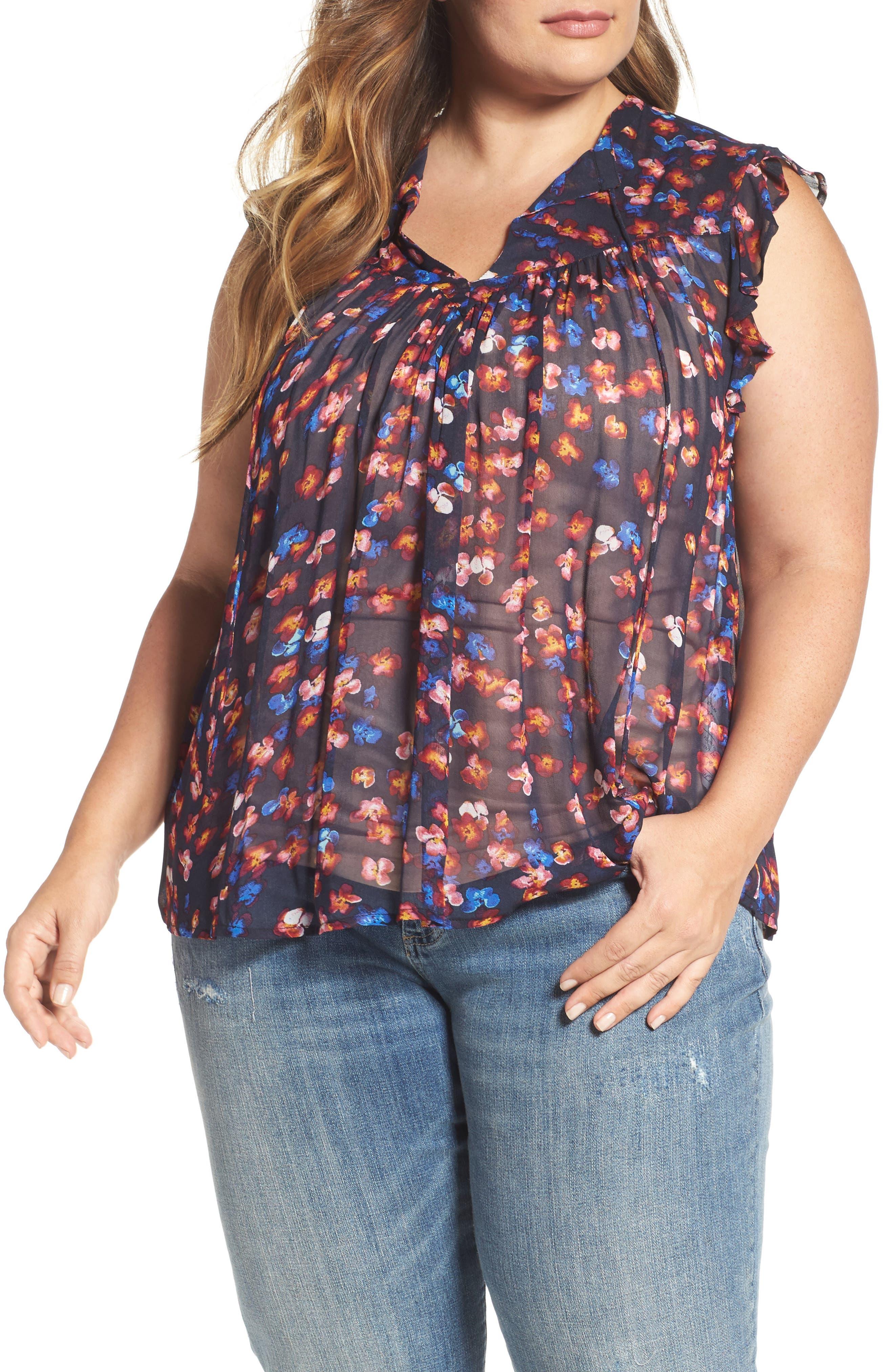 Main Image - Lucky Brand Ruffle Floral Chiffon Top (Plus Size)