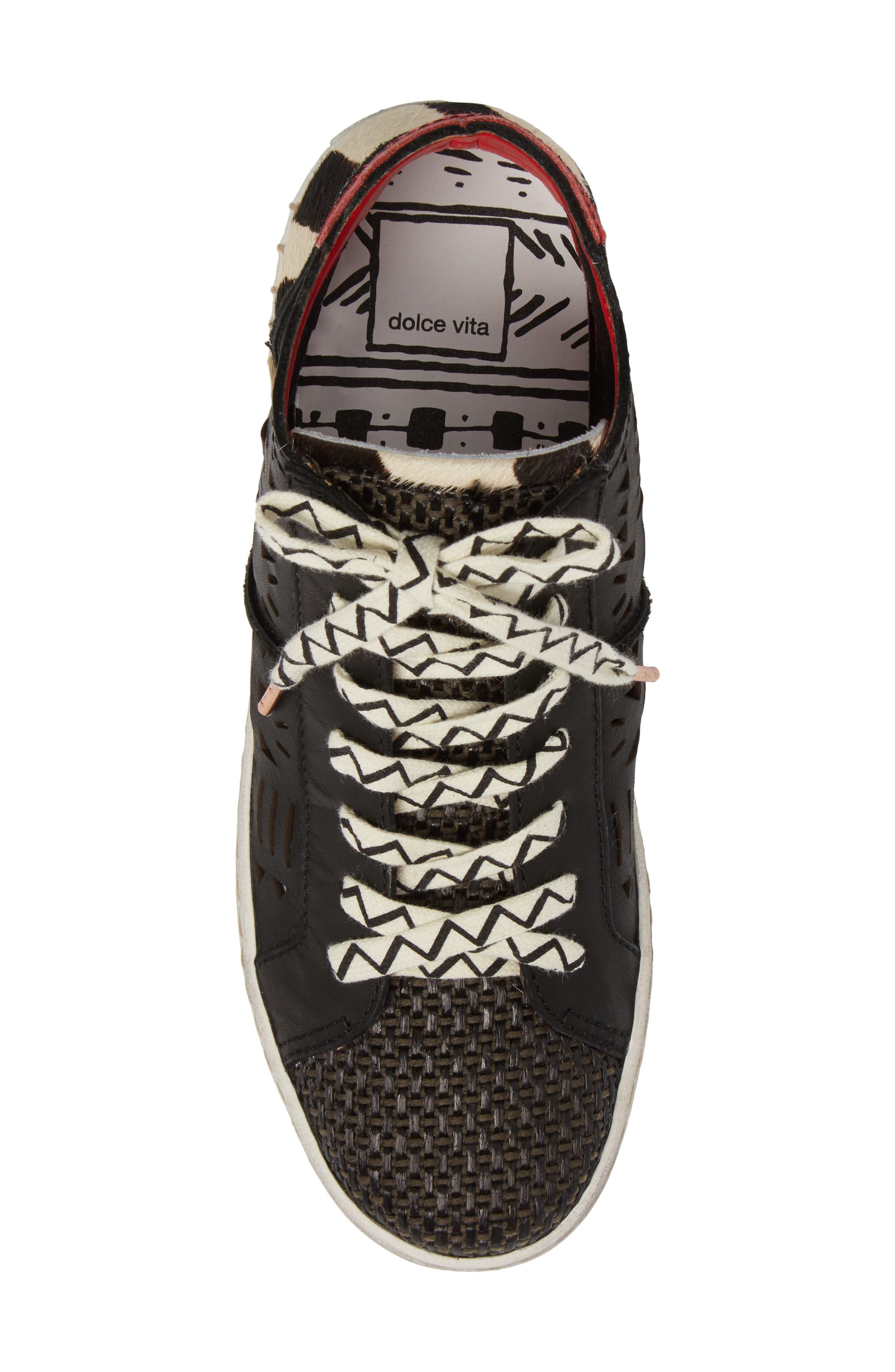 Zeus Genuine Calf Hair Sneaker,                             Alternate thumbnail 5, color,                             Black Lea