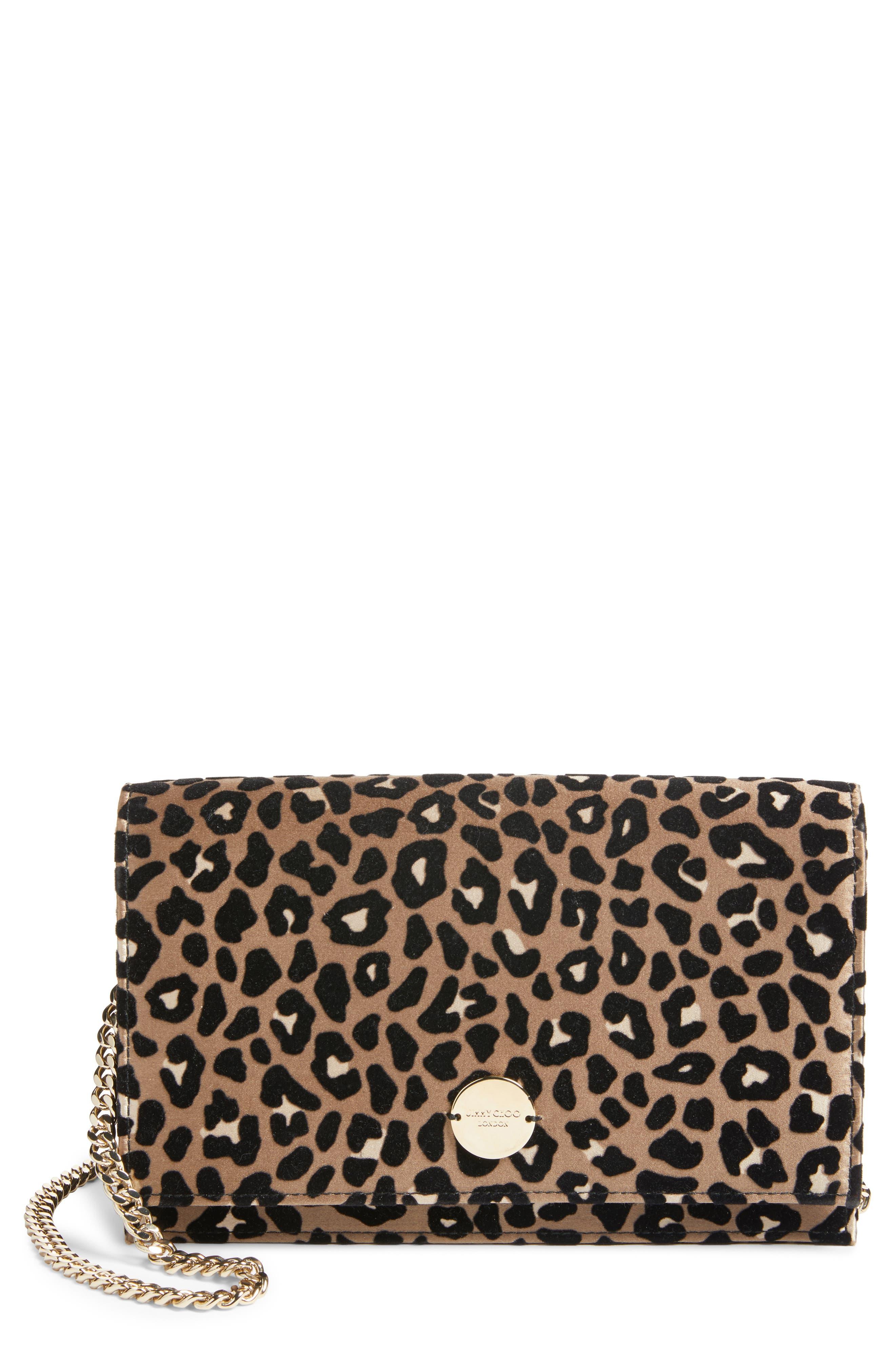 Alternate Image 1 Selected - Jimmy Choo Florence Leopard Print Crossbody Bag