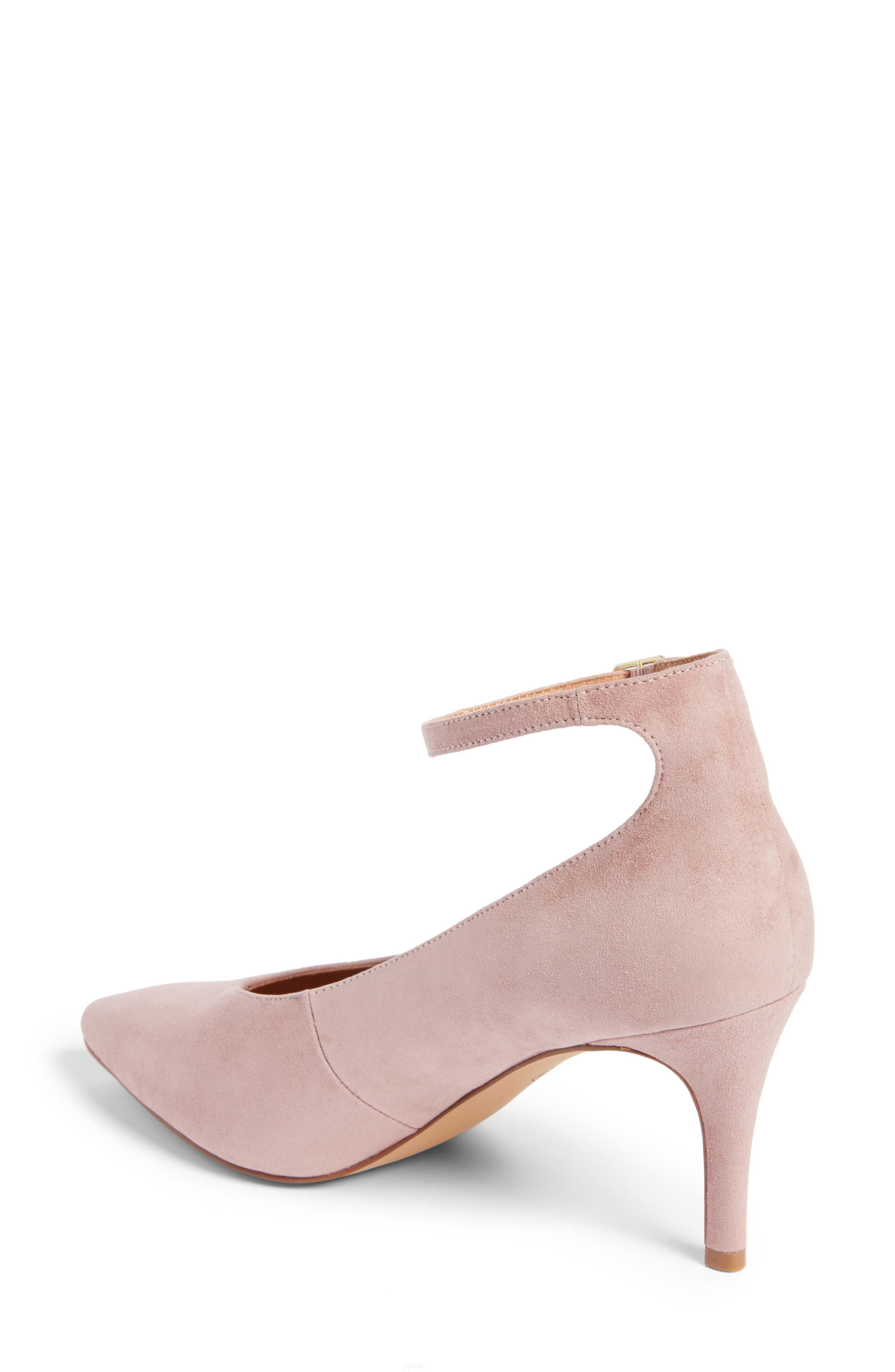 Azaela Ankle Strap Pump,                             Alternate thumbnail 3, color,                             Dark Pink Suede