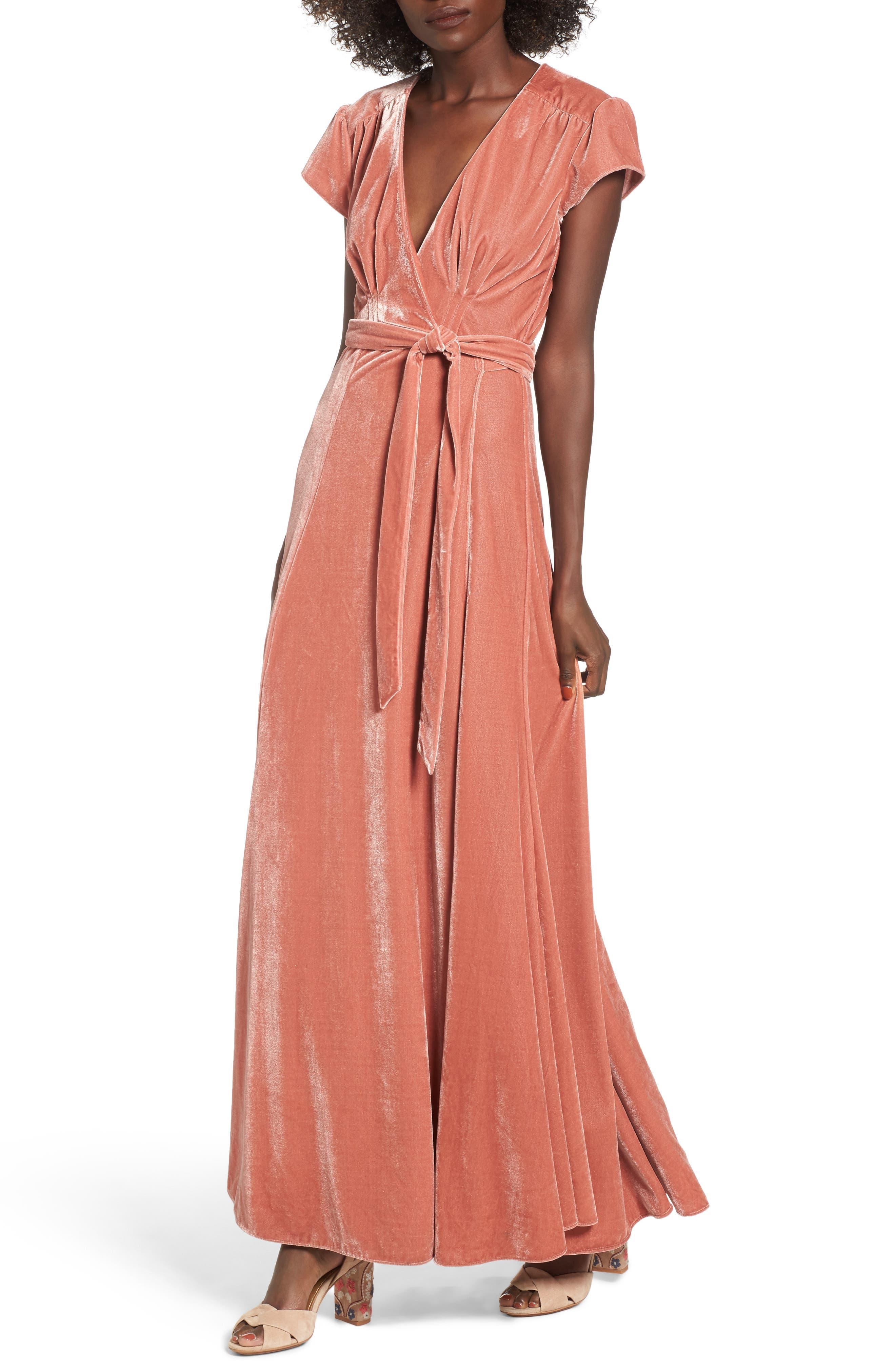 Sid Velvet Wrap Maxi Dress,                         Main,                         color, Wild Rose