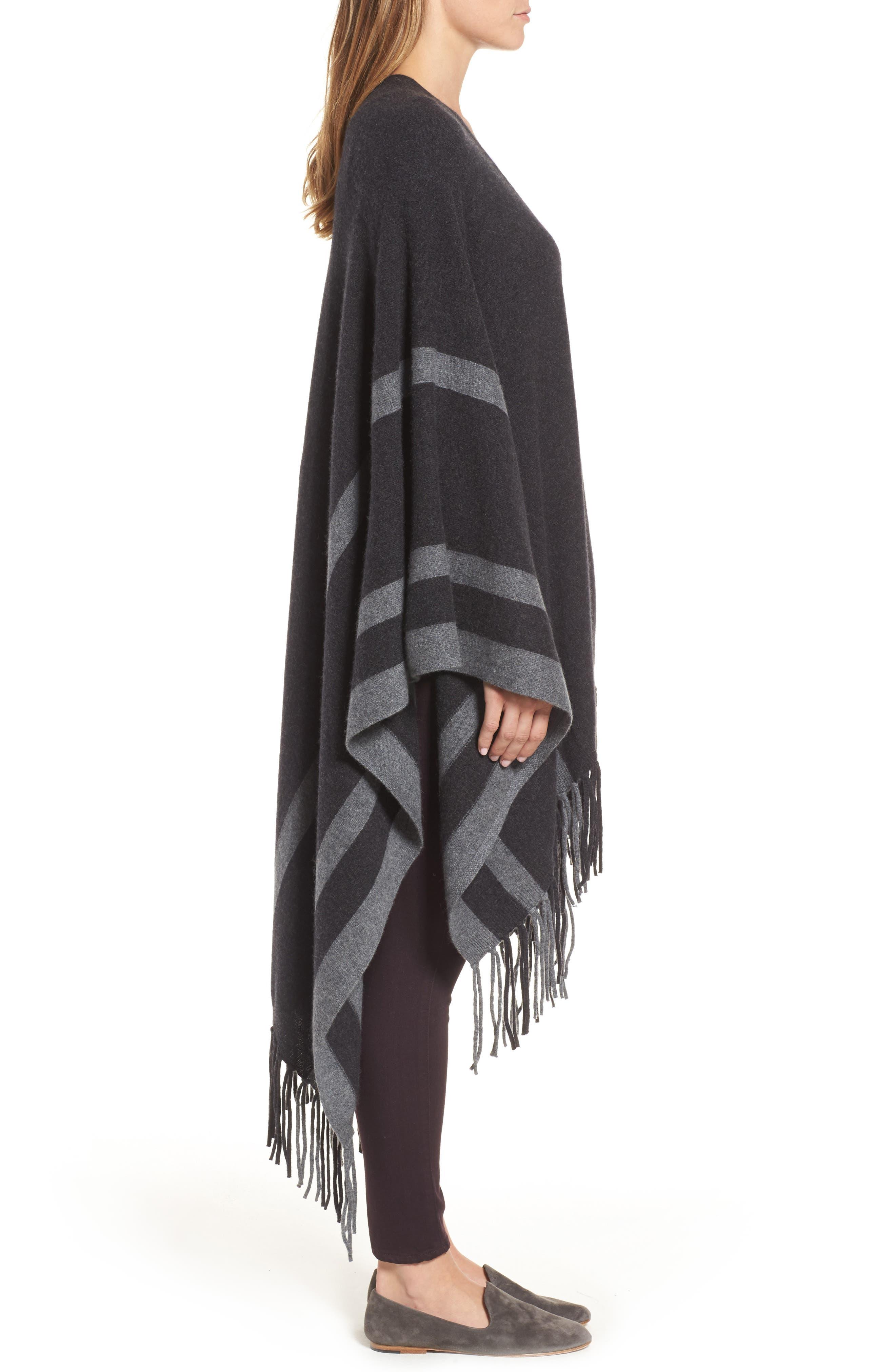 Luxe Stripe Cashmere Ruana,                             Alternate thumbnail 3, color,                             Black Rock Heather Combo