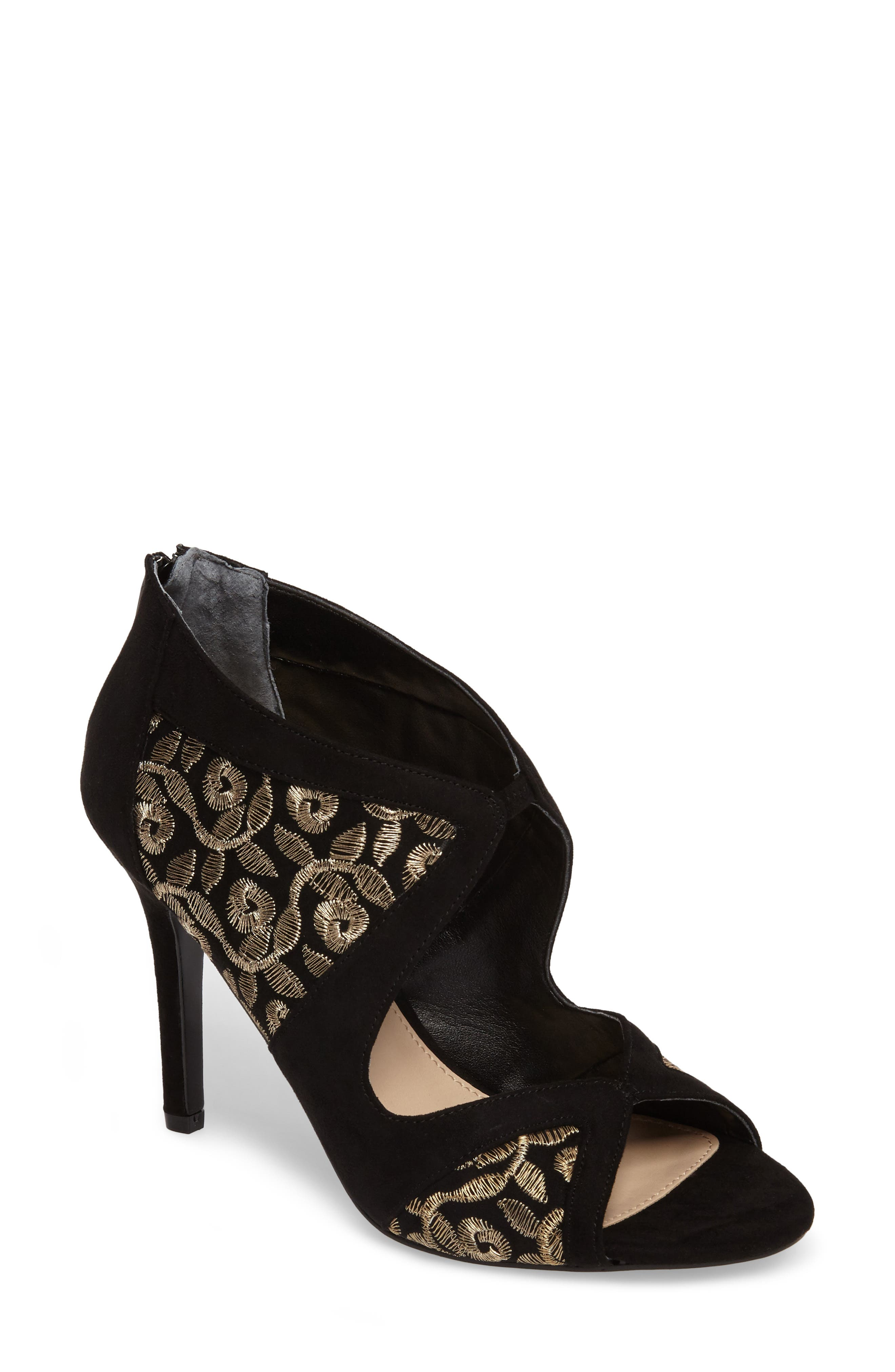 Cordella Open Toe Pump,                         Main,                         color, Black/ Gold Embroidery Fabric