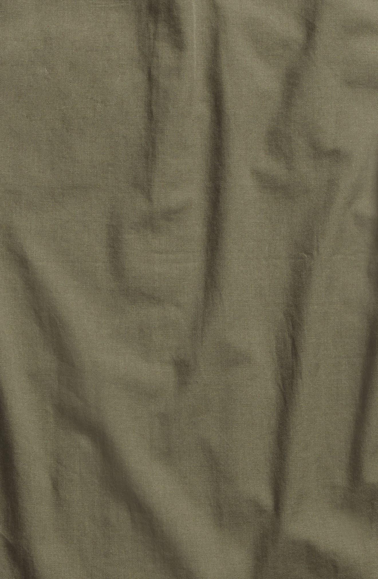 Mixed Media Woven Shirt,                             Alternate thumbnail 4, color,                             Olive Grove