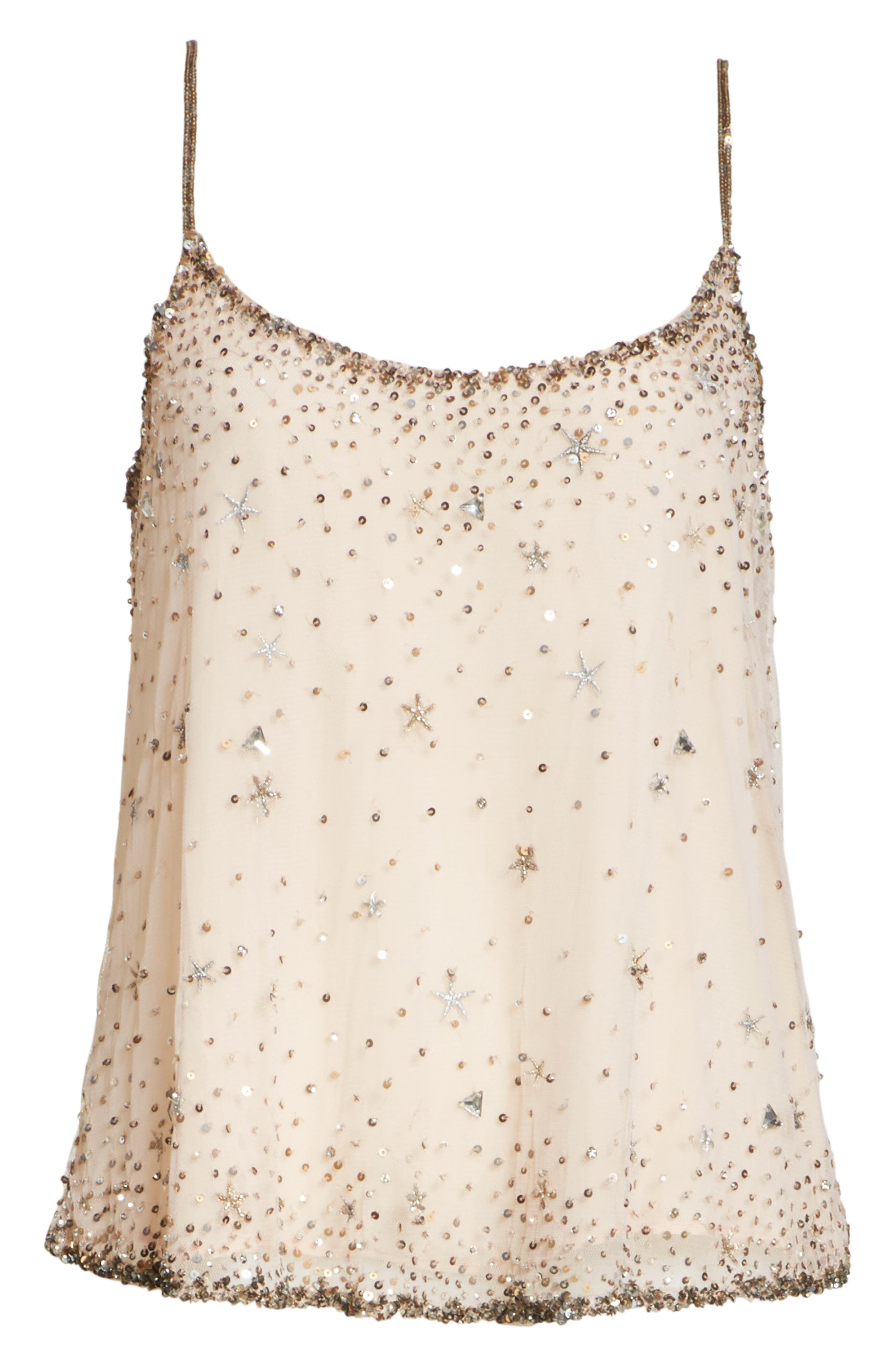 Garlen Beaded Camisole,                             Alternate thumbnail 6, color,                             Champagne