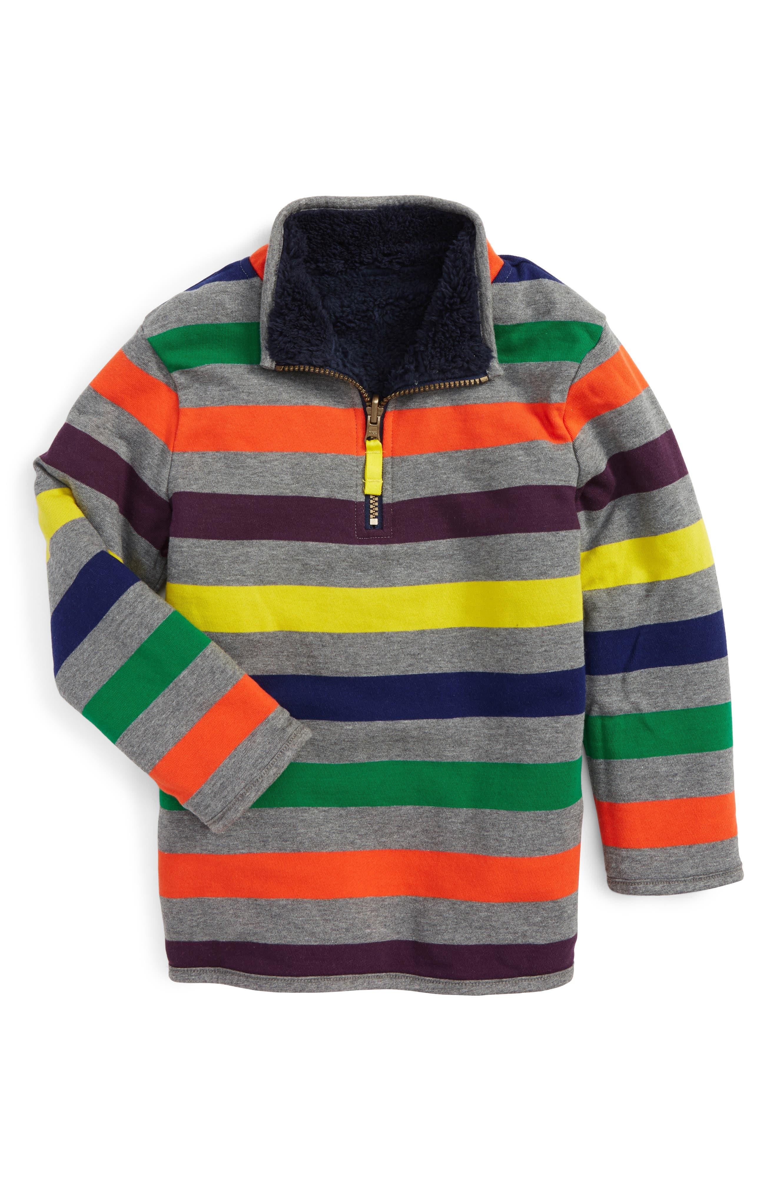Alternate Image 2  - Mini Boden Reversible Quarter Zip Sweatshirt (Toddler Boys, Little Boys & Big Boys)