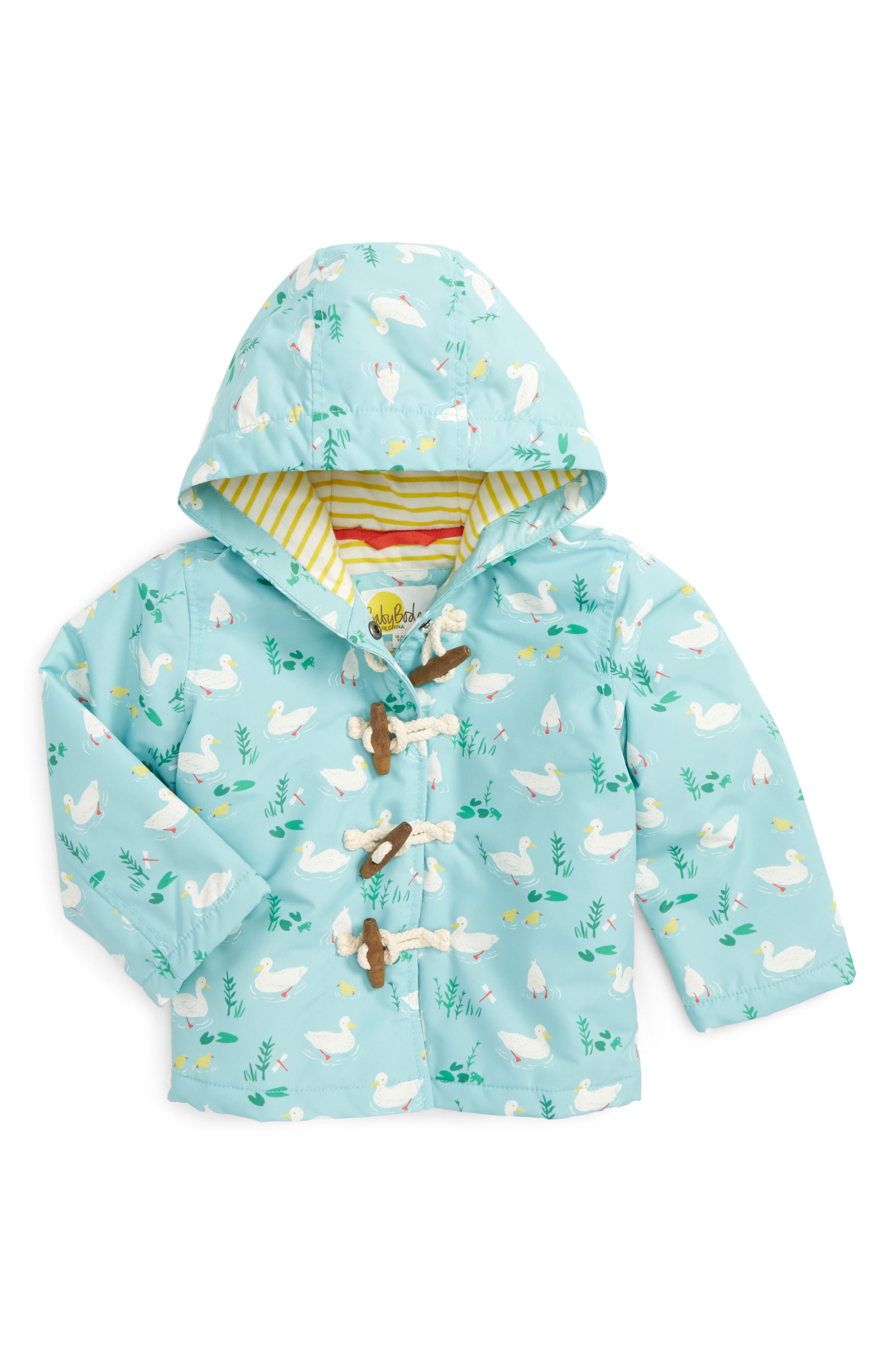 Mini Boden Ducks Print Water Resistant Duffle Coat (Baby Girls & Toddler Girls)