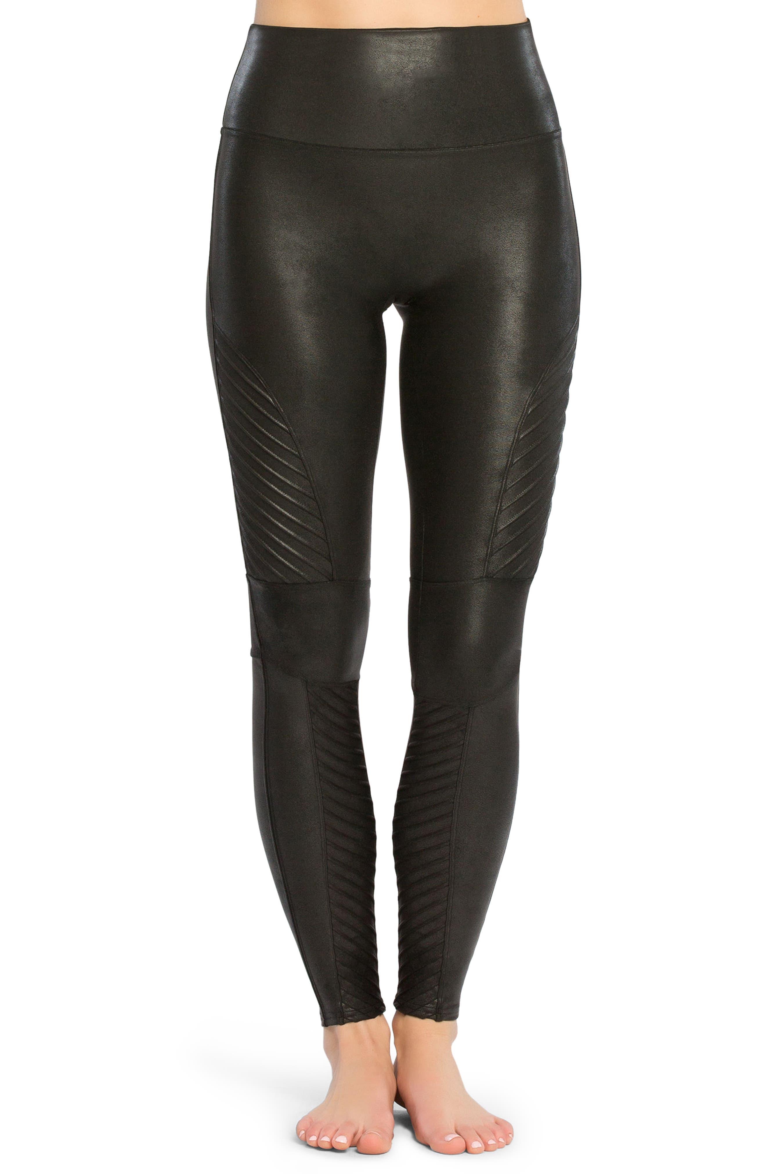 SPANX Faux Leather Moto Leggings,                         Main,                         color, Very Black