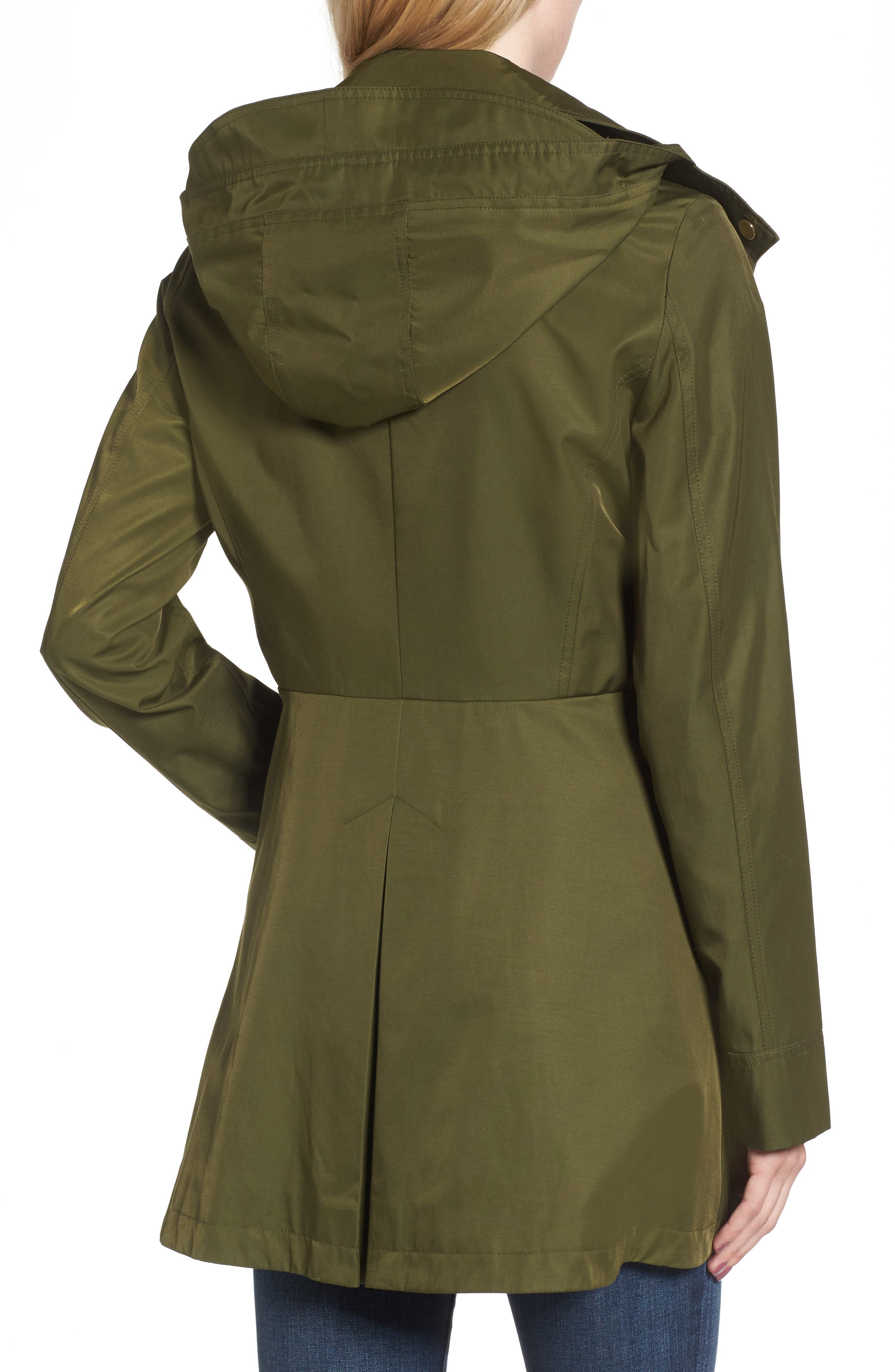 Fit & Flare Anorak Jacket,                             Alternate thumbnail 2, color,                             Olive
