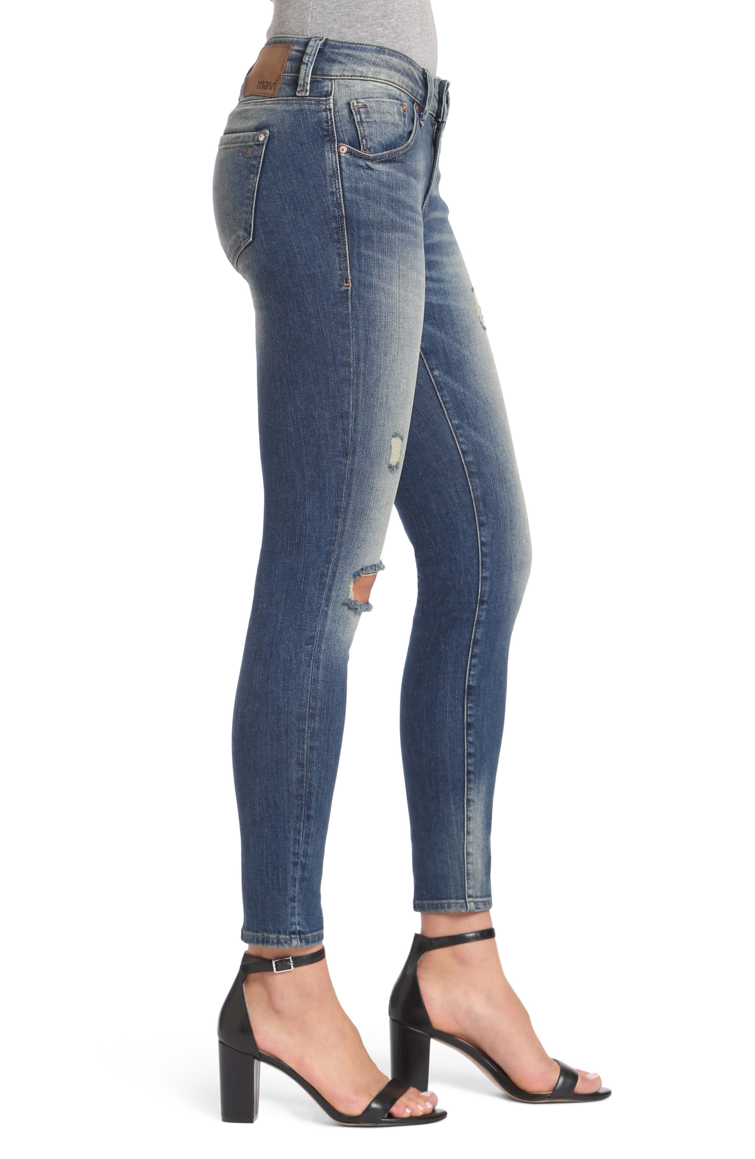 Adriana Stretch Skinny Jeans,                             Alternate thumbnail 3, color,                             Mid Shaded Glam Vintage