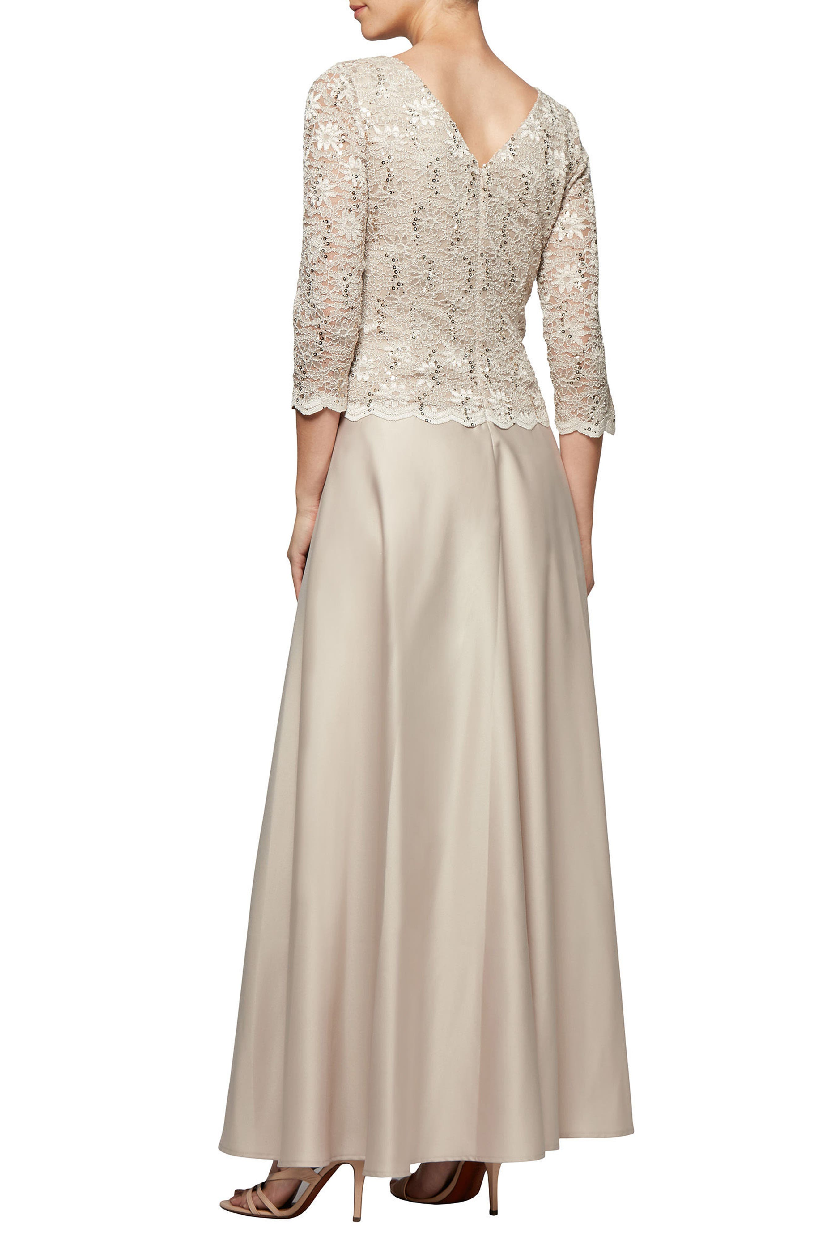 Mock Two-Piece Gown,                             Alternate thumbnail 2, color,                             Taupe
