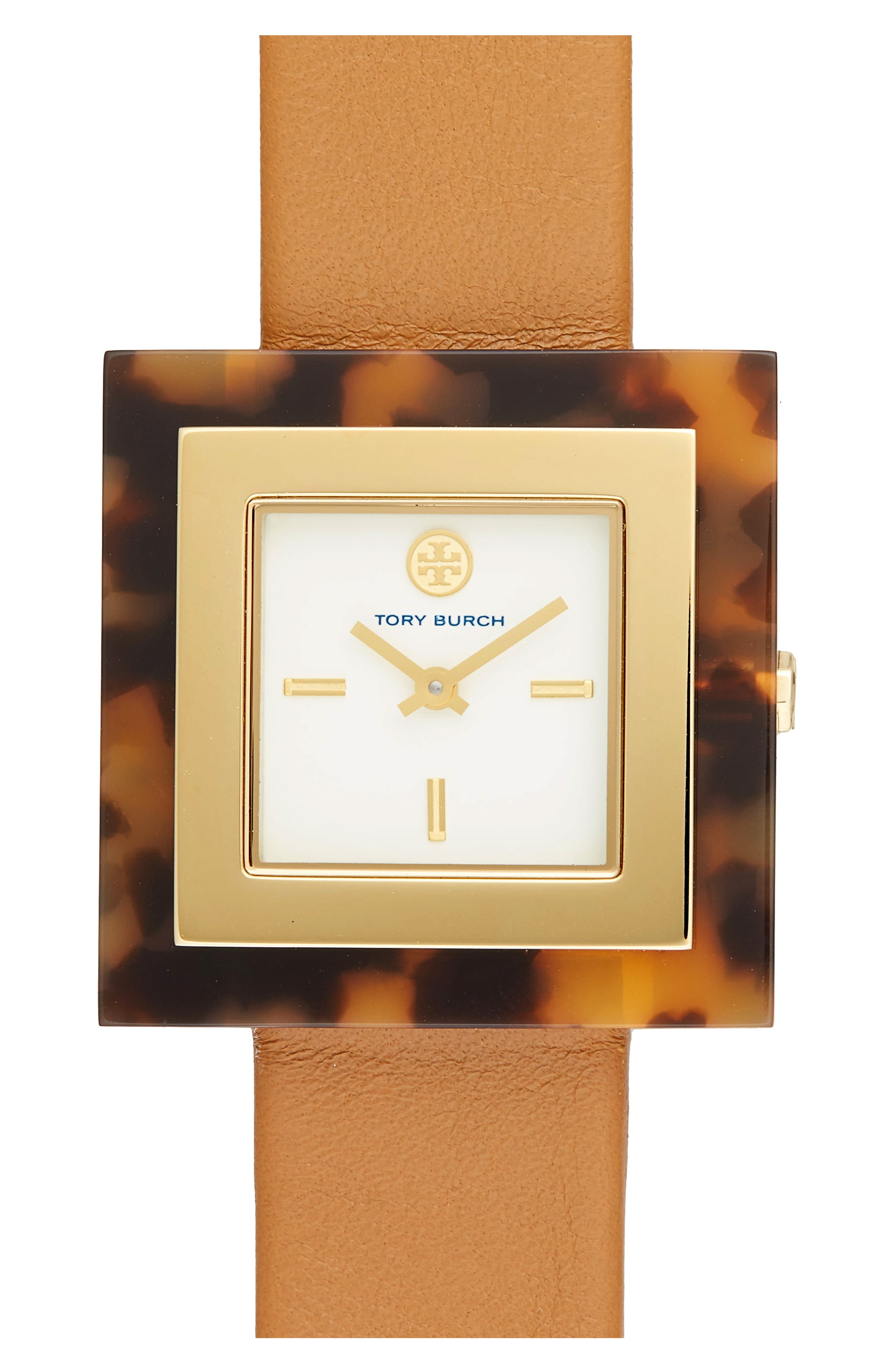 Alternate Image 1 Selected - Tory Burch Sedgwick Square Leather Strap Watch, 33mm x 33mm
