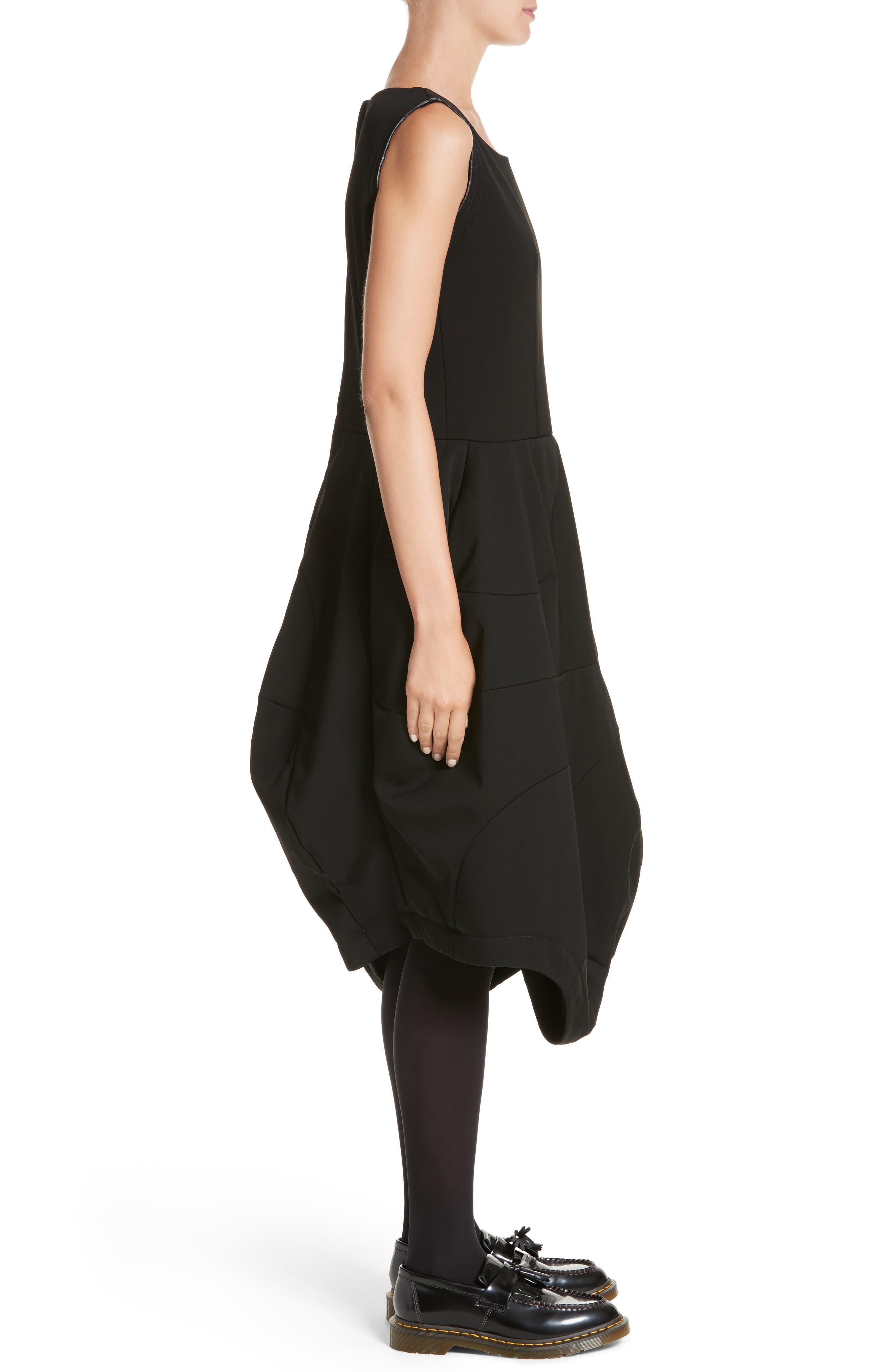 Bending Skirt Wool Dress,                             Alternate thumbnail 3, color,                             Black