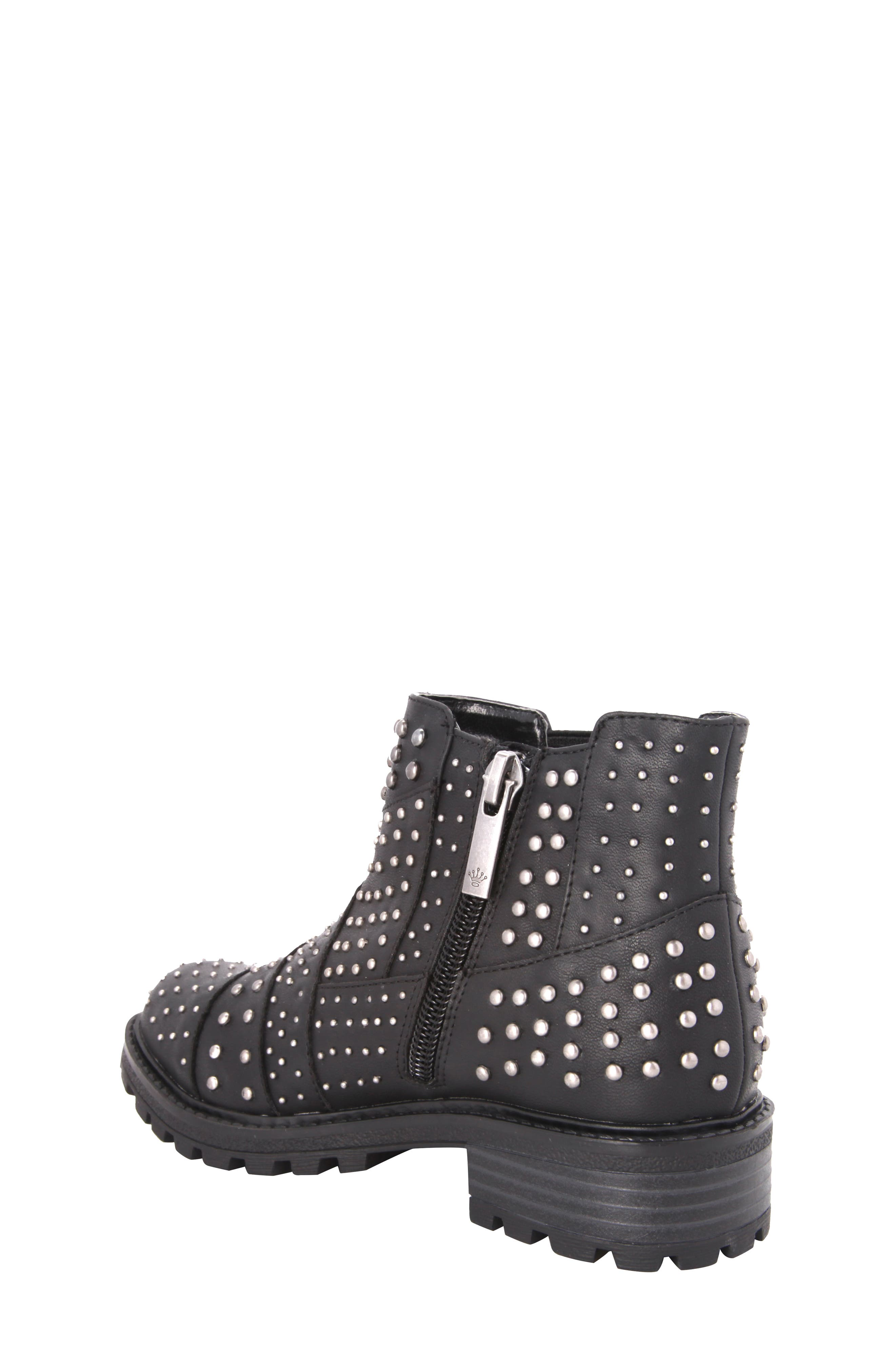Dexy Studded Boot,                             Alternate thumbnail 2, color,                             Black Tumbled Leather