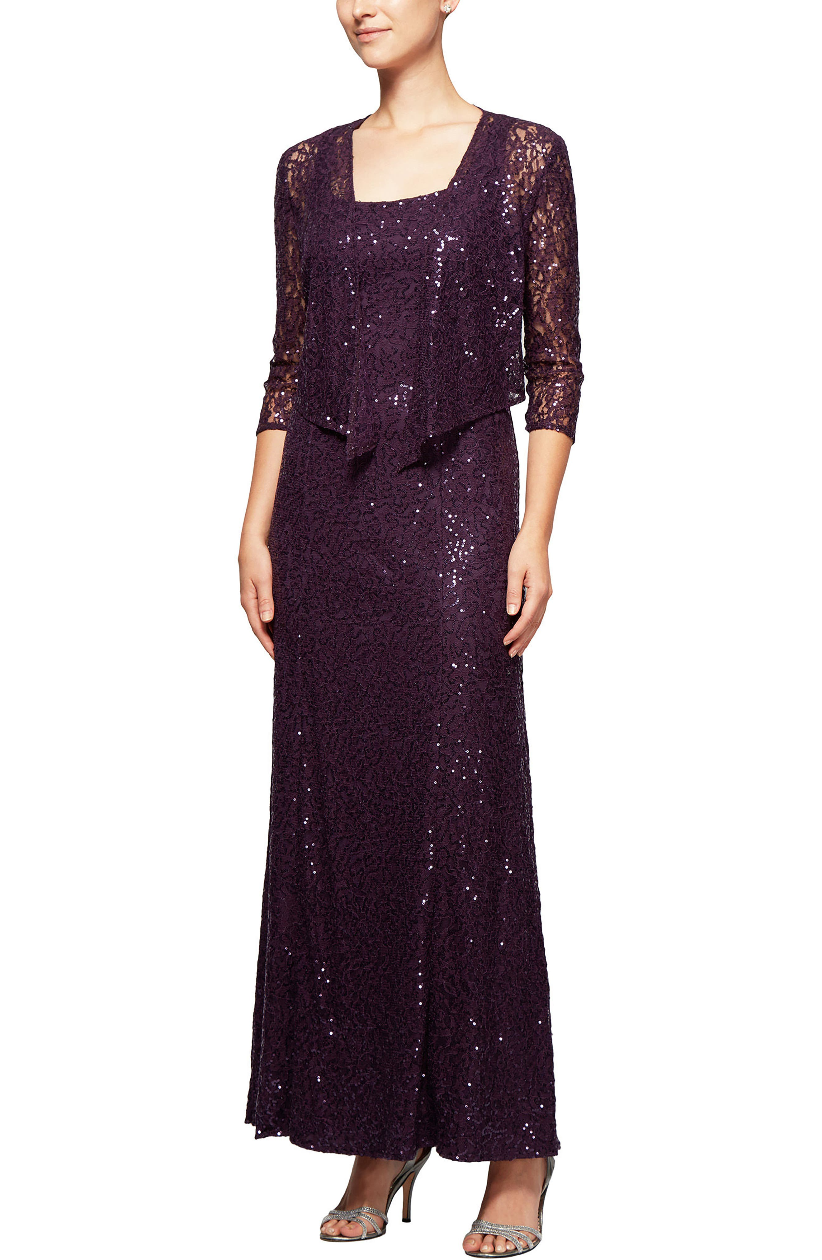 Sequin Lace Long Dress with Jacket,                         Main,                         color, Eggplant