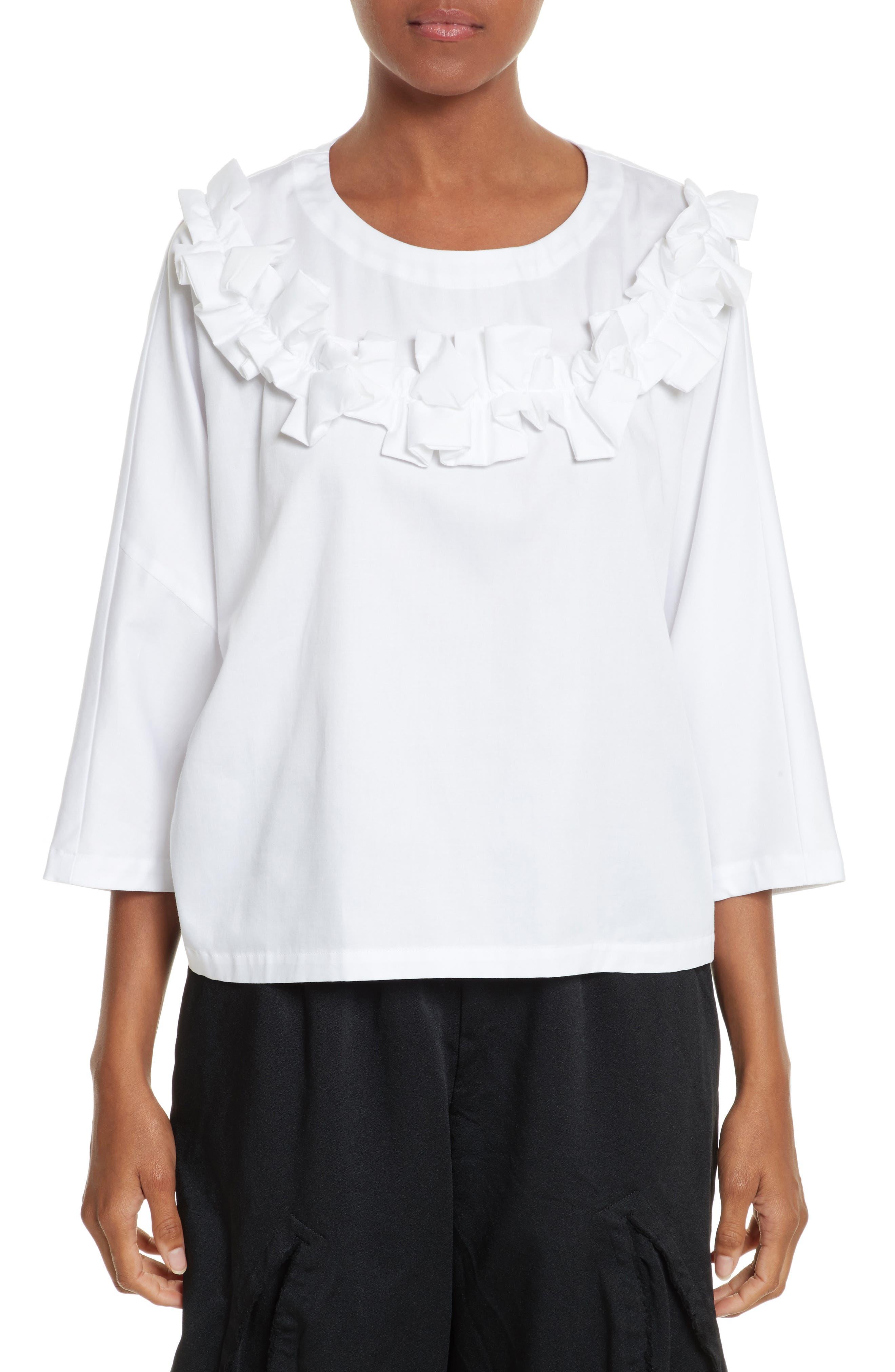 Ruffle Neck Blouse,                         Main,                         color, White