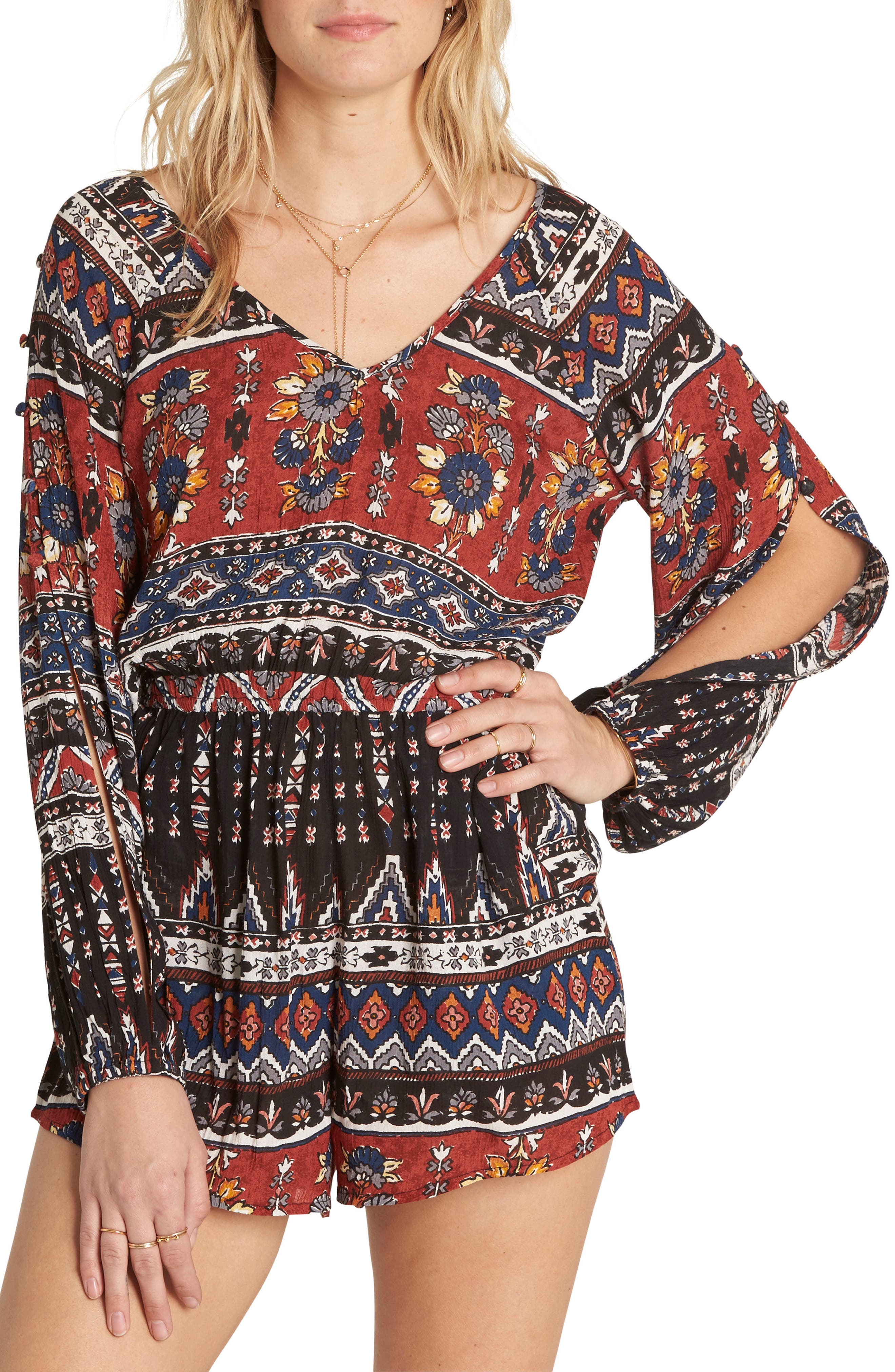 Isles of the Heart Print Romper,                         Main,                         color, Multi