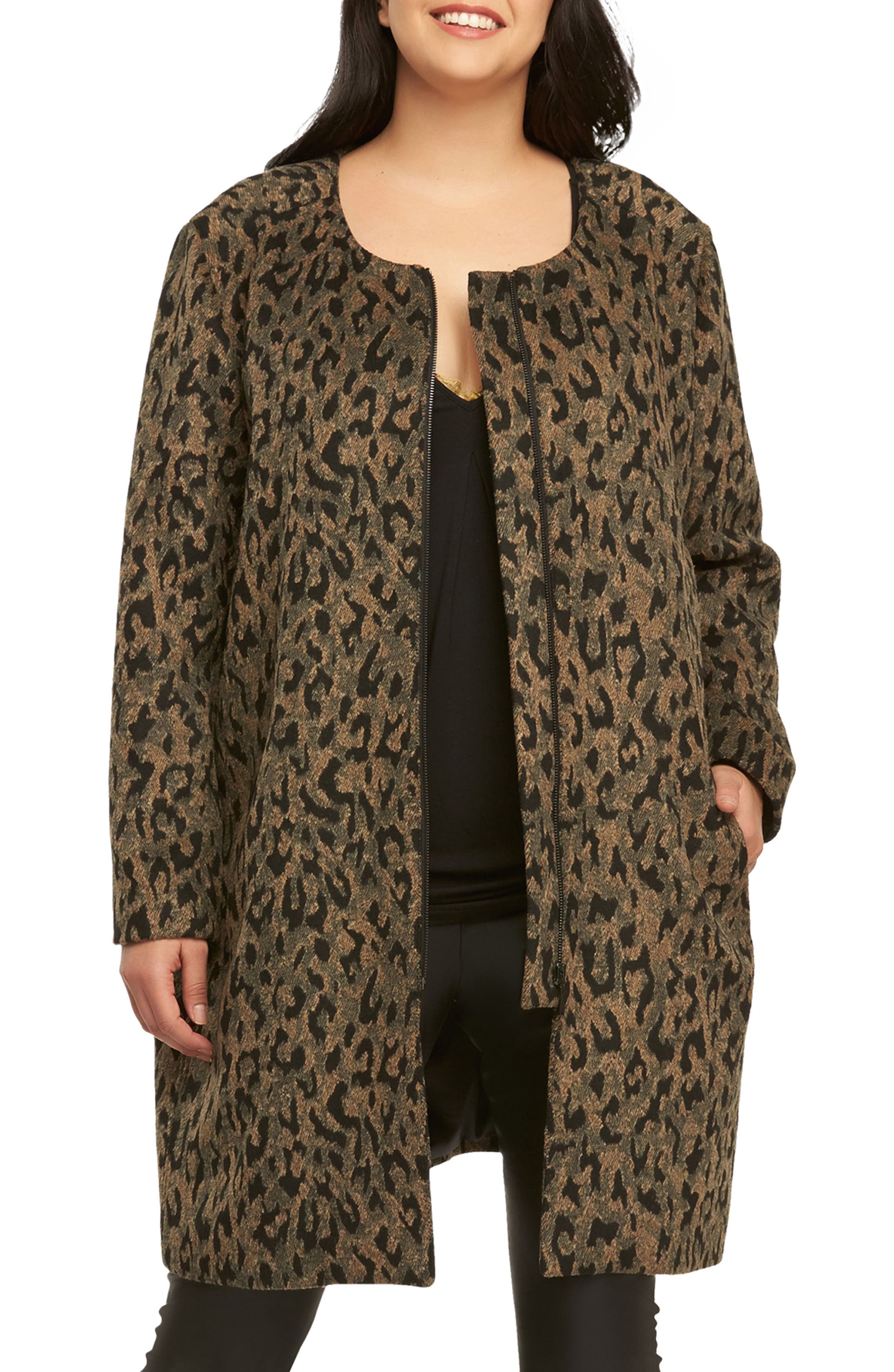Ashton Leopard Print Coat,                         Main,                         color, Leopard
