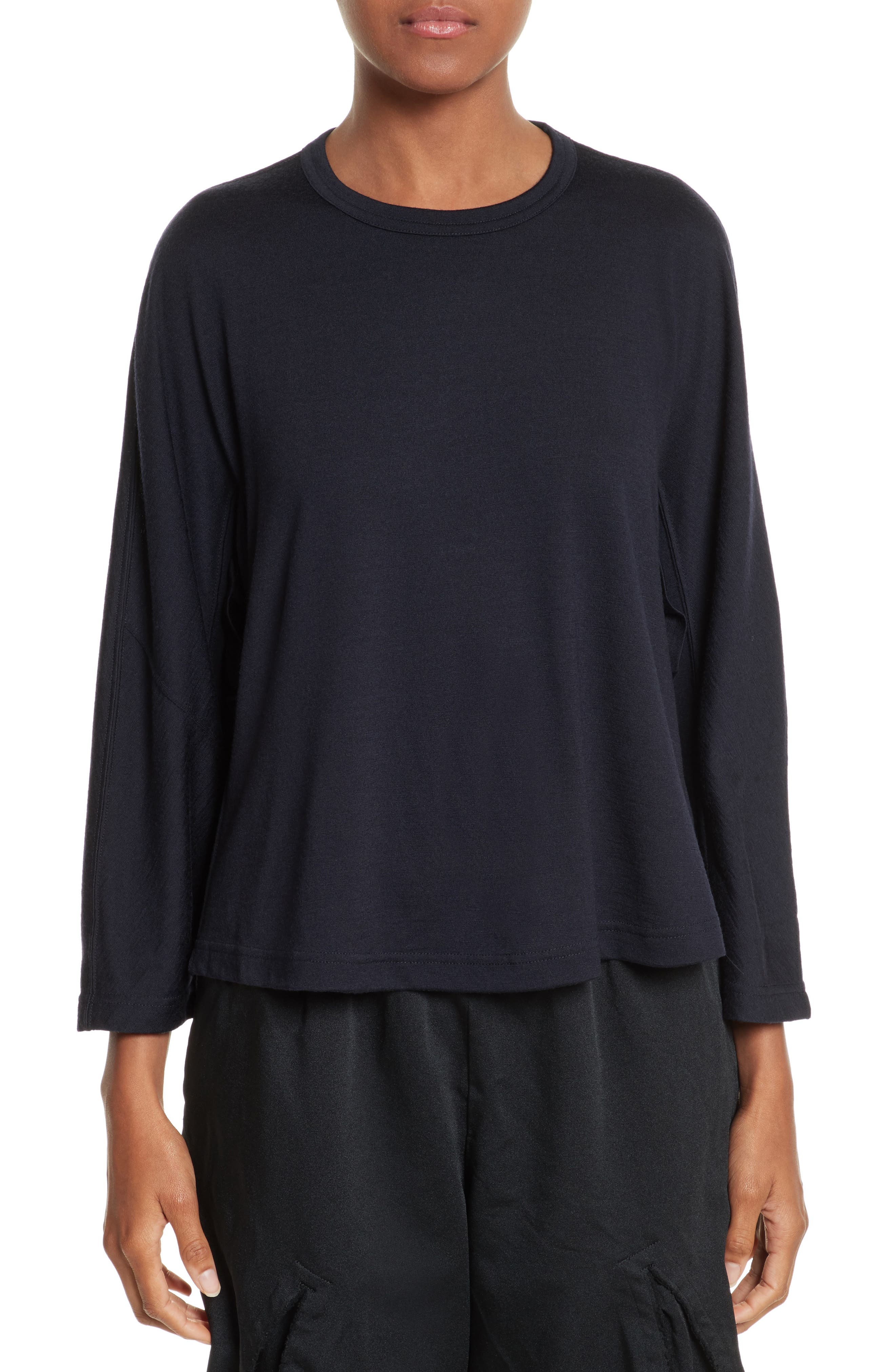 Ruffle Side Wool Pullover,                         Main,                         color, Navy