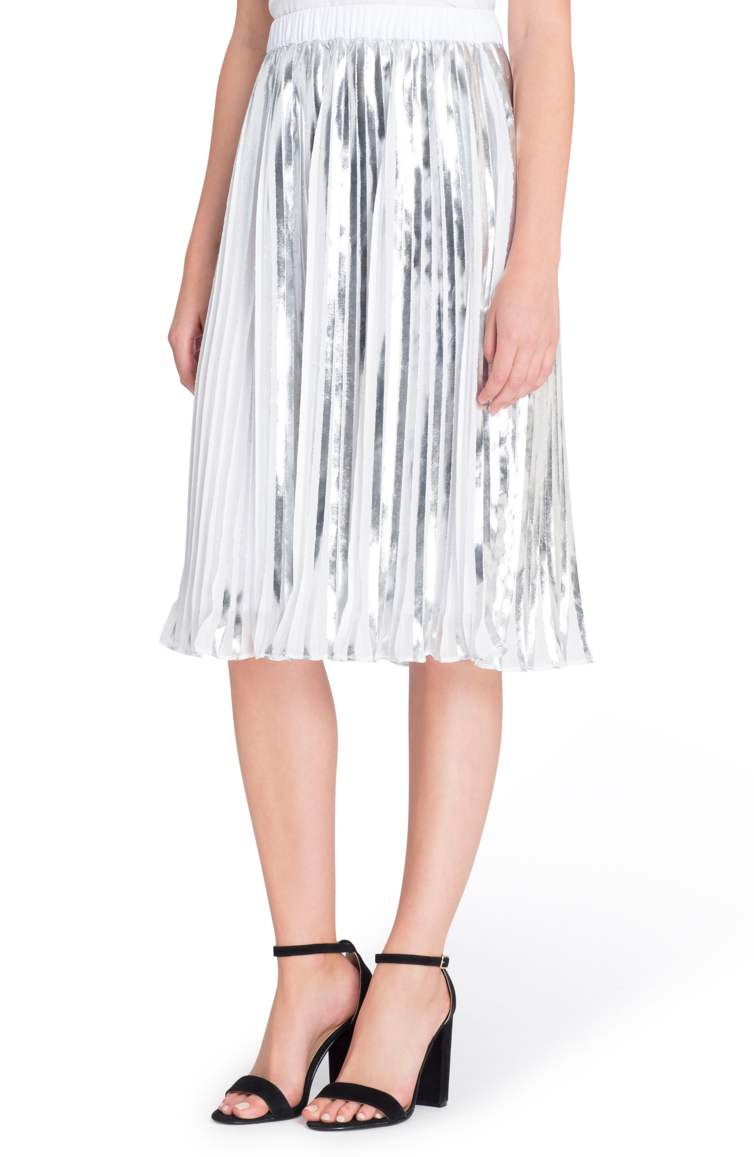 Duncan Pleat Skirt,                         Main,                         color, Silver/ White
