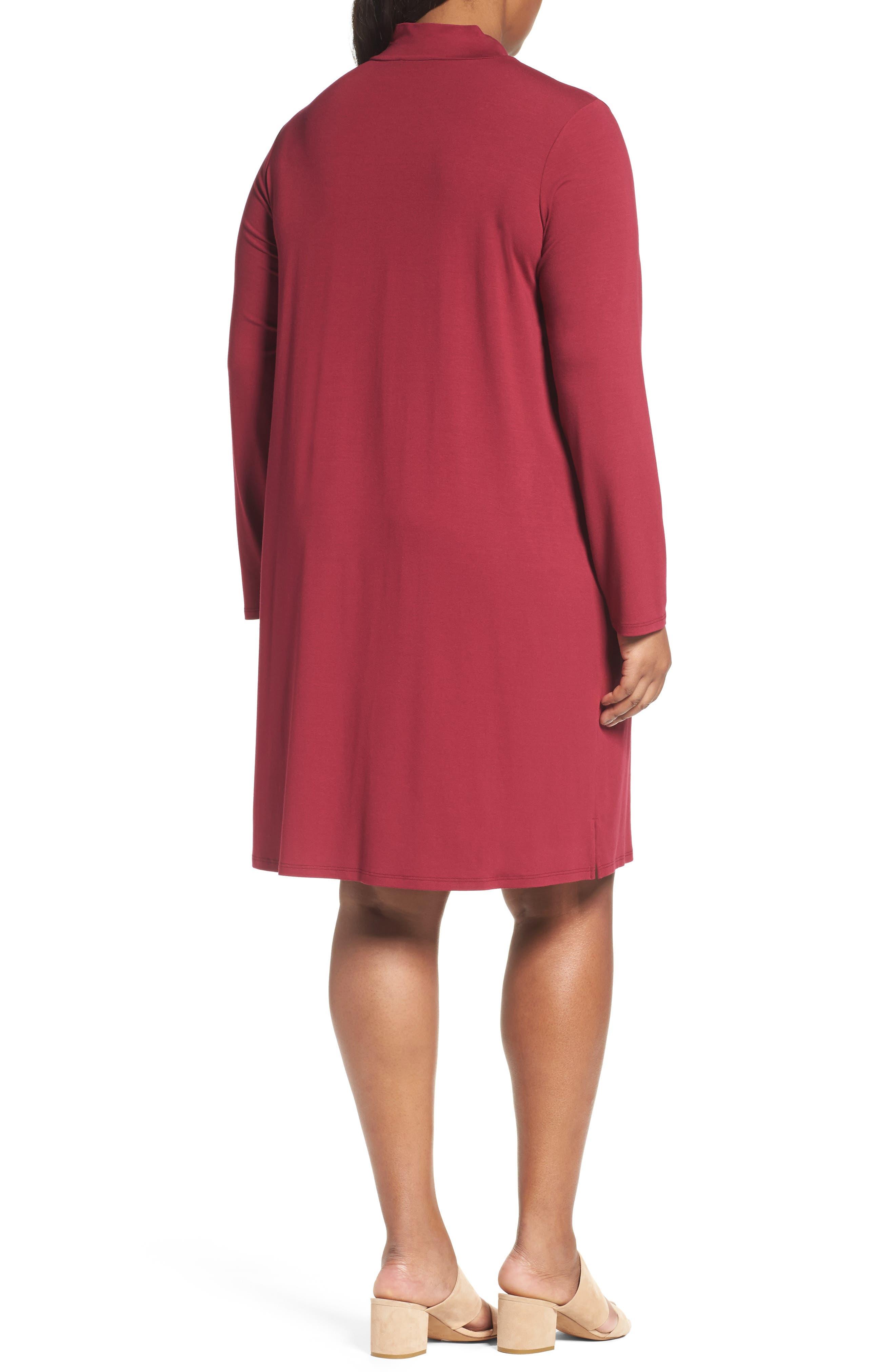Mock Neck Shift Dress,                             Alternate thumbnail 2, color,                             Hibiscus