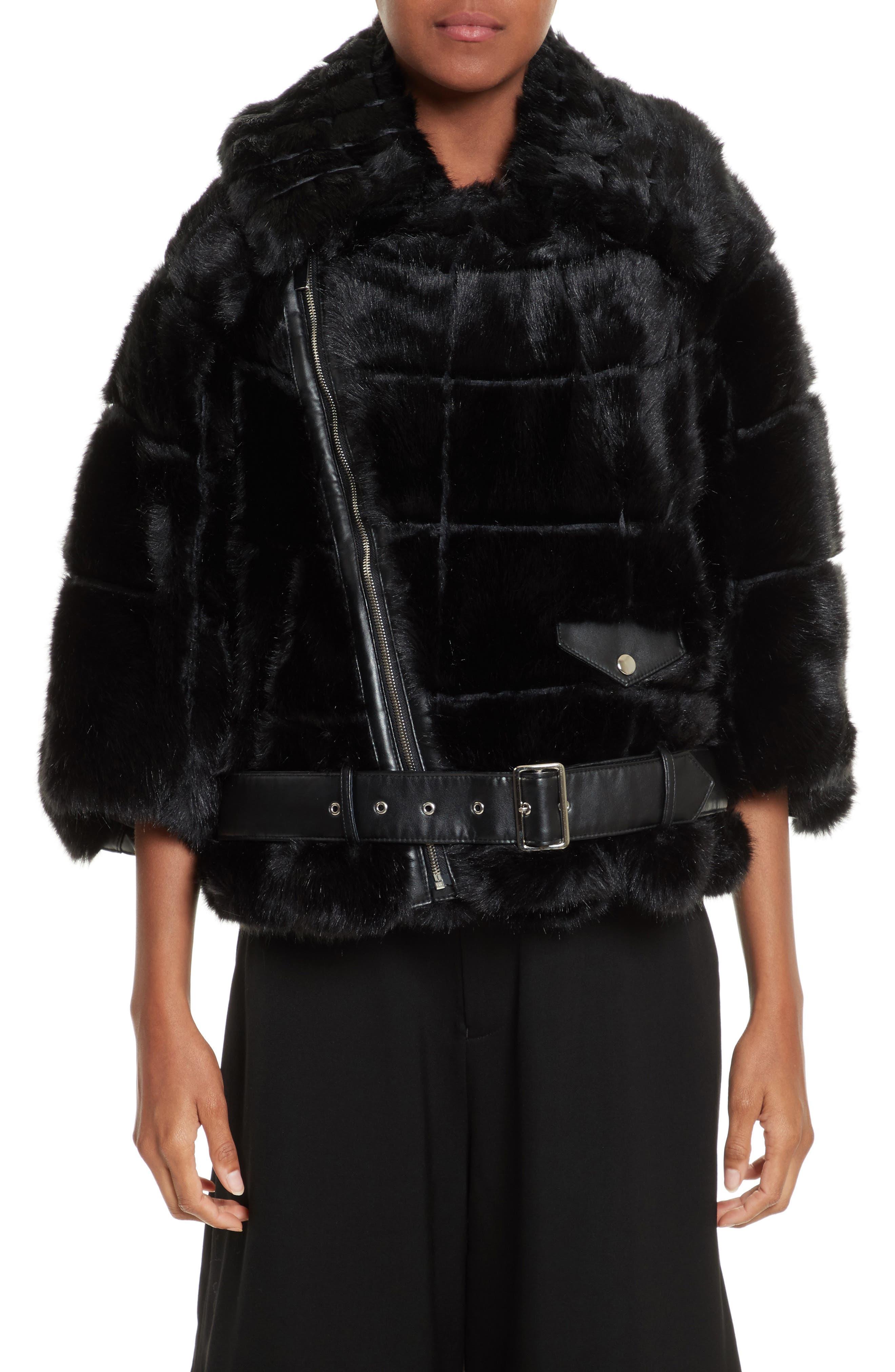 Crop Faux Fur Coat,                         Main,                         color, Black