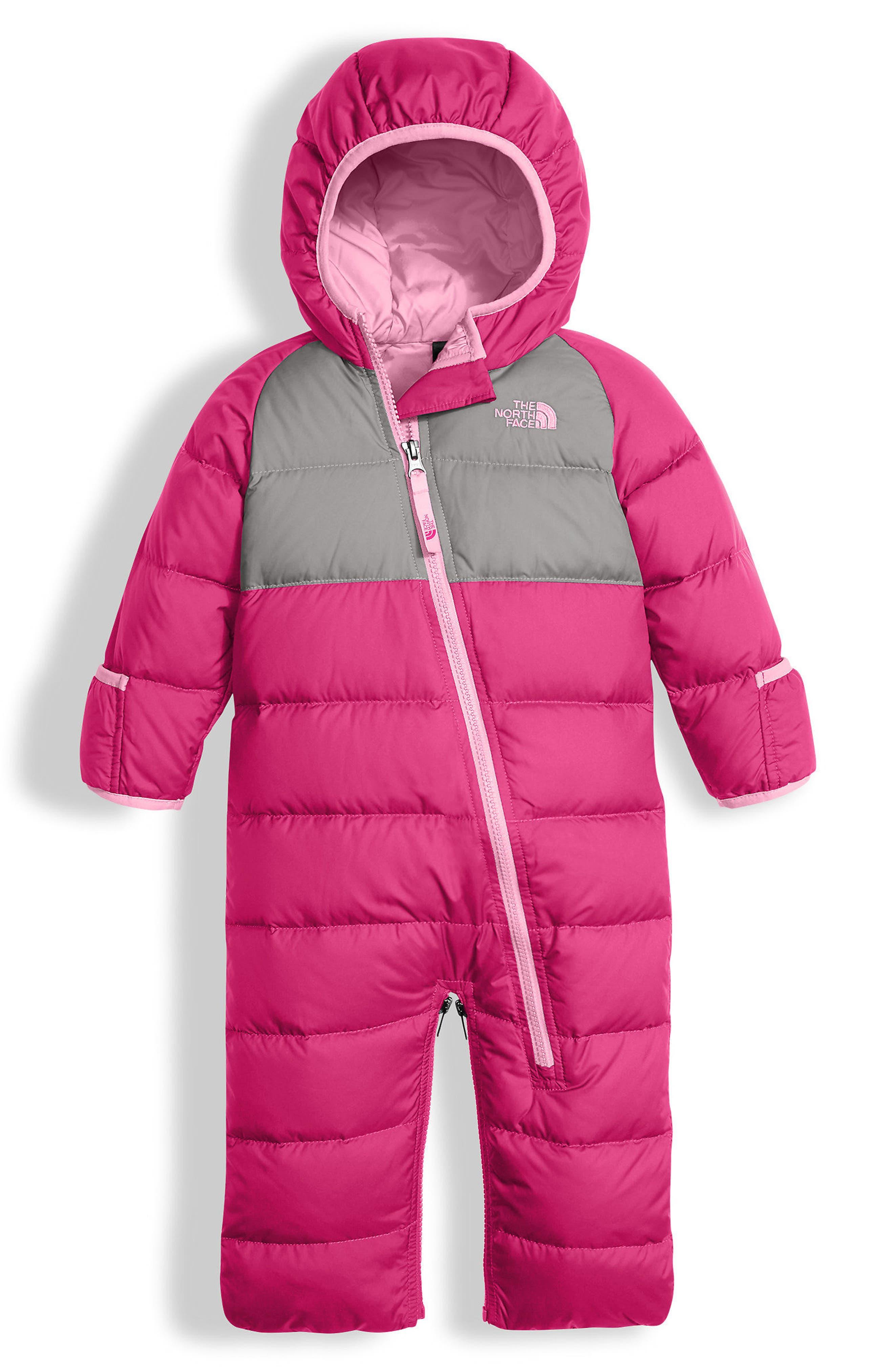 Lil' Snuggler Water Resistant Down Bunting,                         Main,                         color, Petticoat Pink