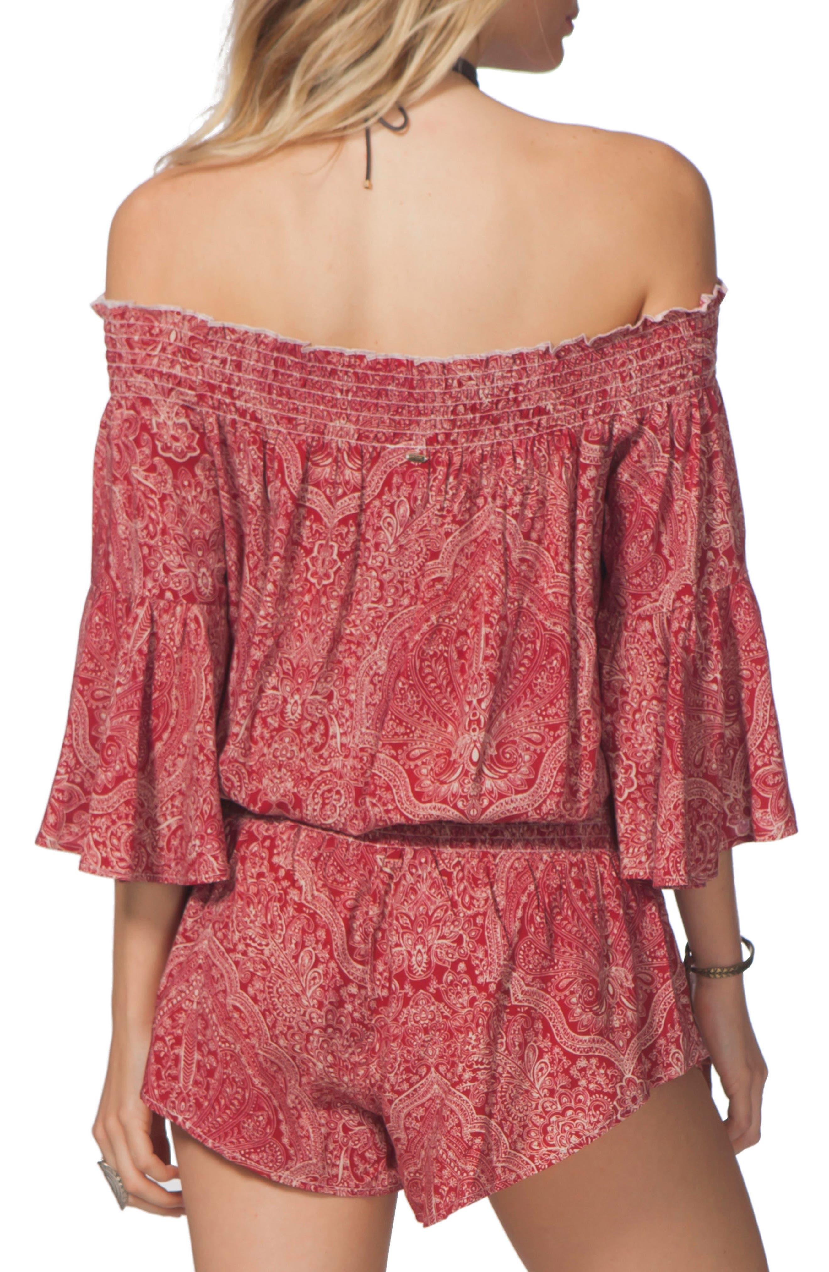 Alternate Image 2  - Rip Curl Everglow Paisley Print Off the Shoulder Romper