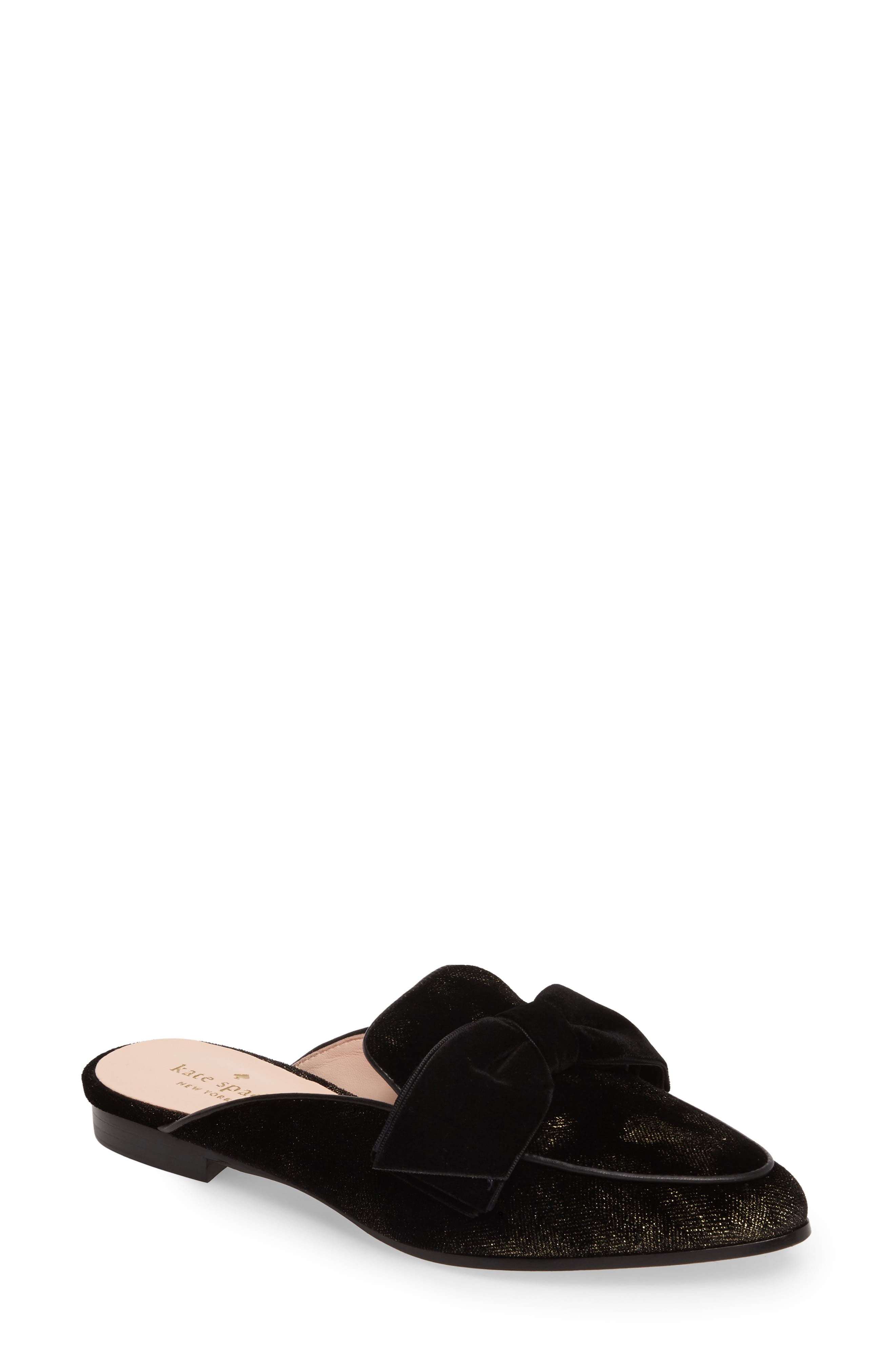 carnegie bow mule,                             Main thumbnail 1, color,                             Black Velvet