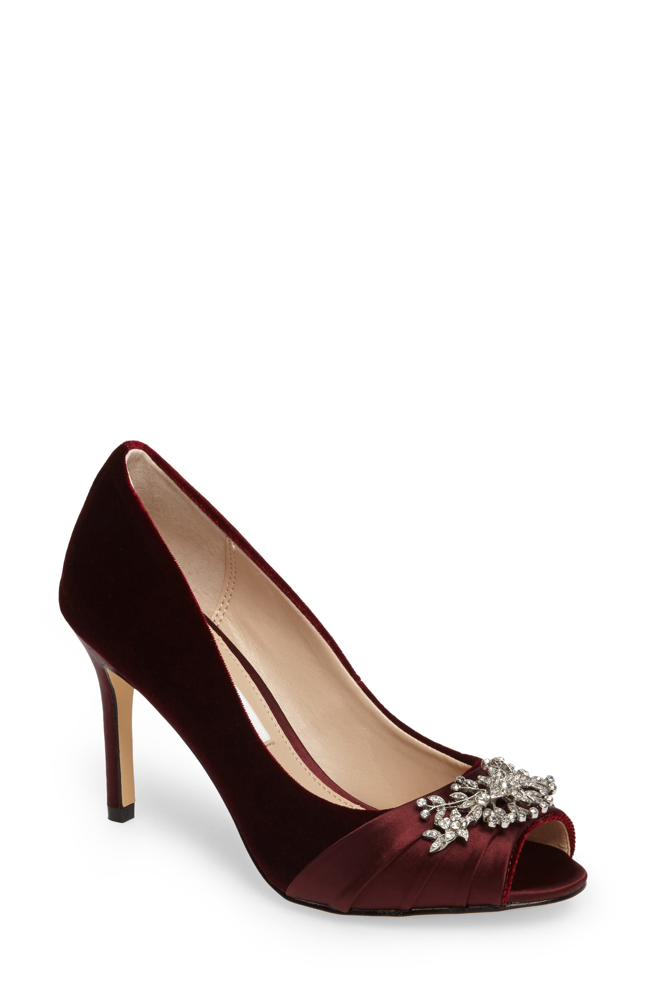 Nina Rumina Embellished Peep Toe Pump (Women)